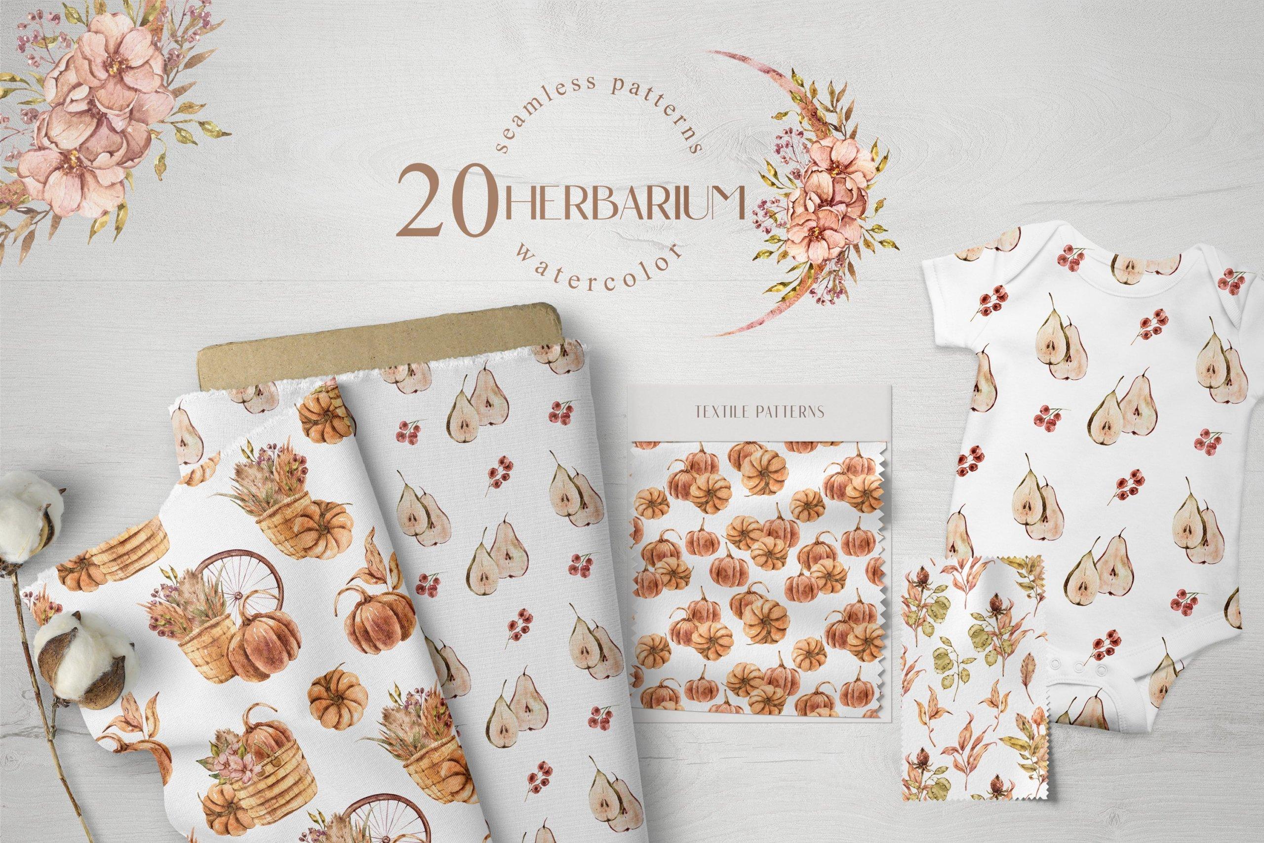 15款高清花卉字母手绘水彩插图图片设计素材 Watercolor Floral Seamless Patterns插图7