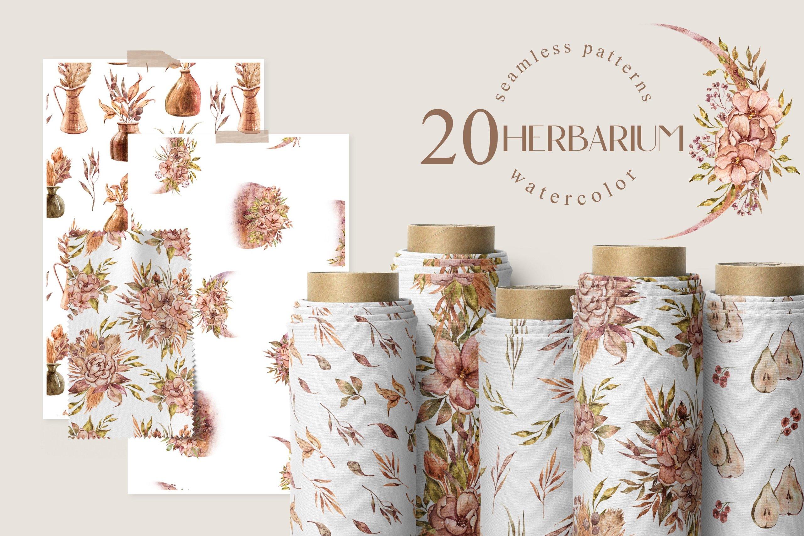 15款高清花卉字母手绘水彩插图图片设计素材 Watercolor Floral Seamless Patterns插图