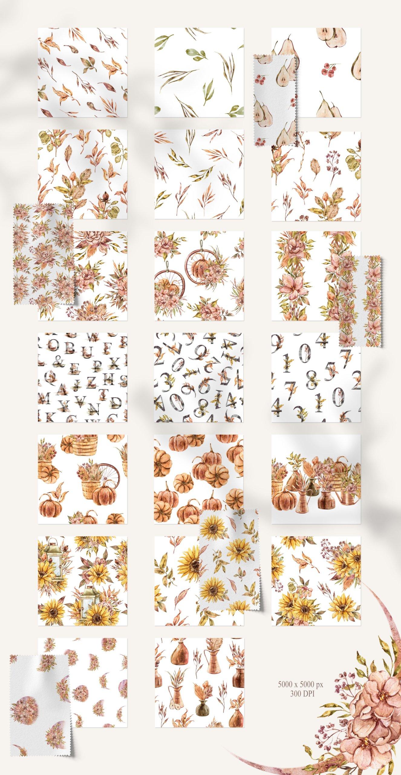 15款高清花卉字母手绘水彩插图图片设计素材 Watercolor Floral Seamless Patterns插图2