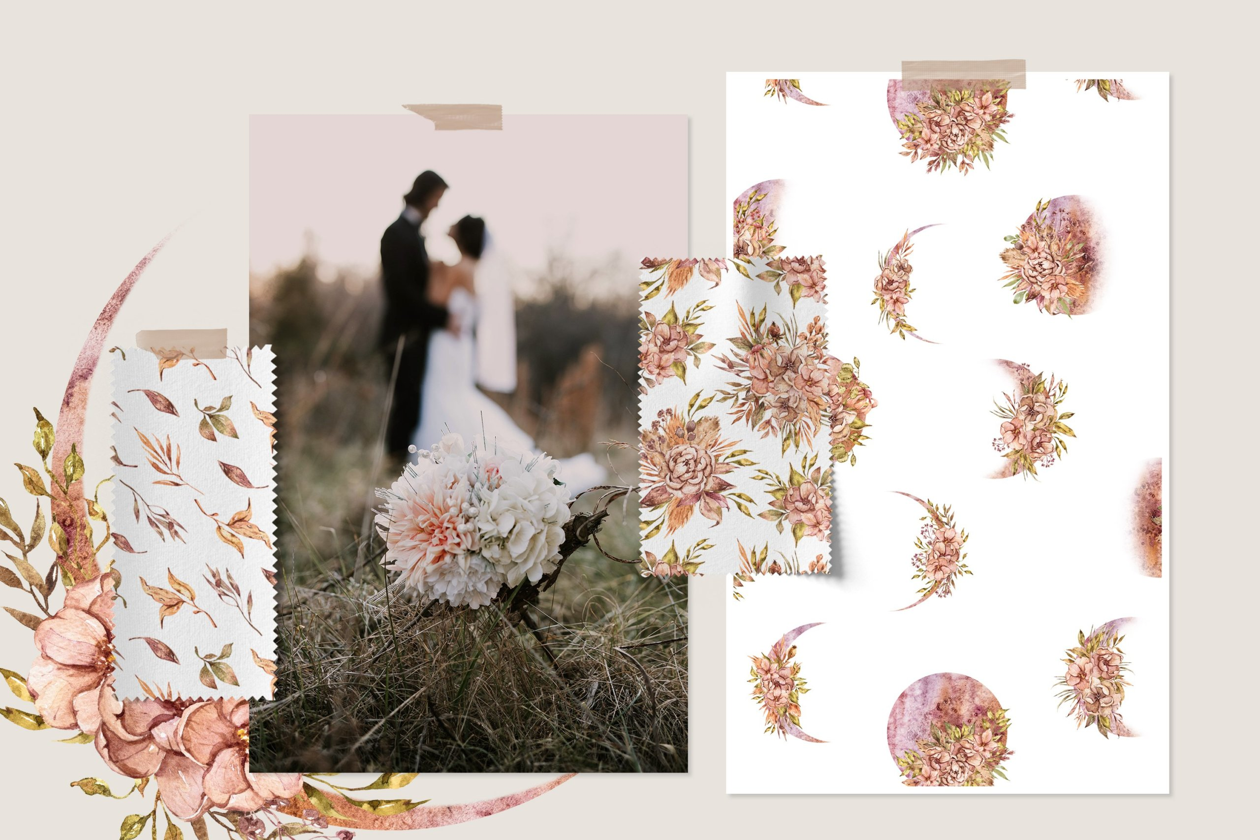 15款高清花卉字母手绘水彩插图图片设计素材 Watercolor Floral Seamless Patterns插图3