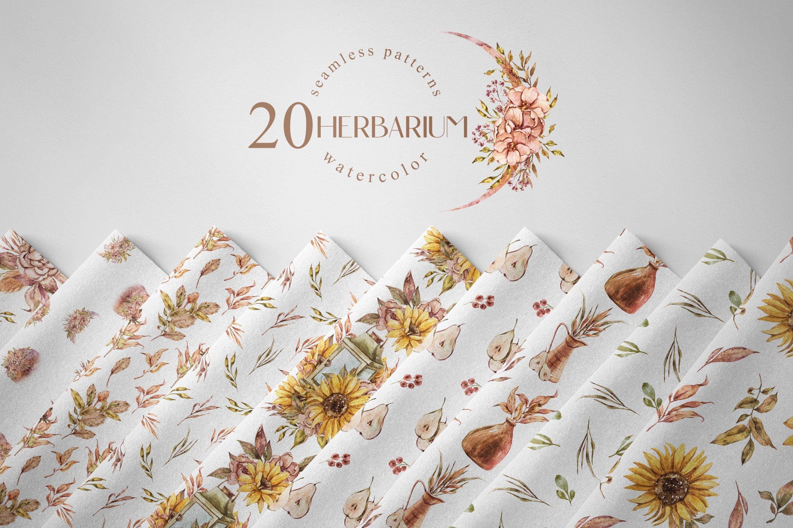 15款高清花卉字母手绘水彩插图图片设计素材 Watercolor Floral Seamless Patterns插图4