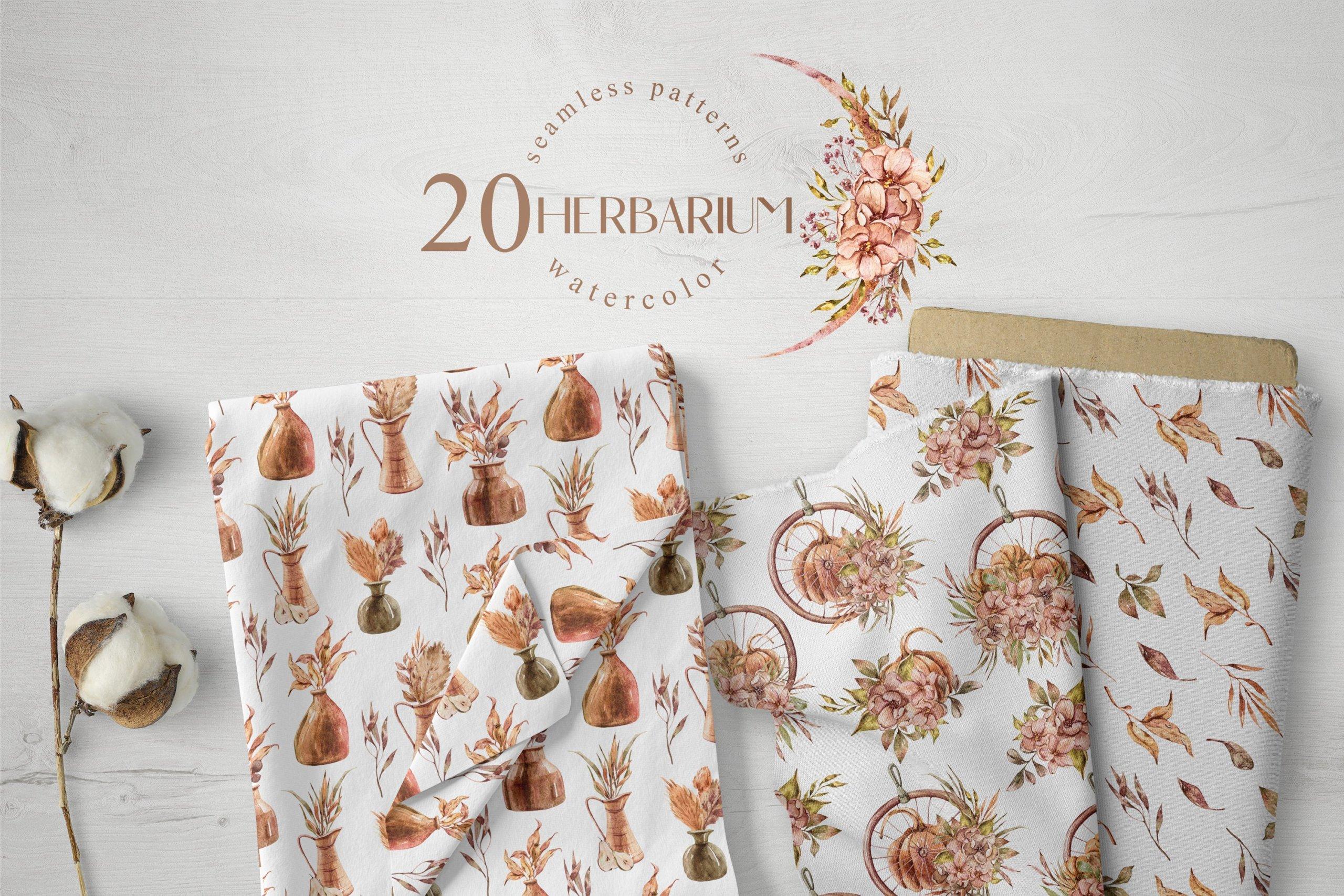 15款高清花卉字母手绘水彩插图图片设计素材 Watercolor Floral Seamless Patterns插图6
