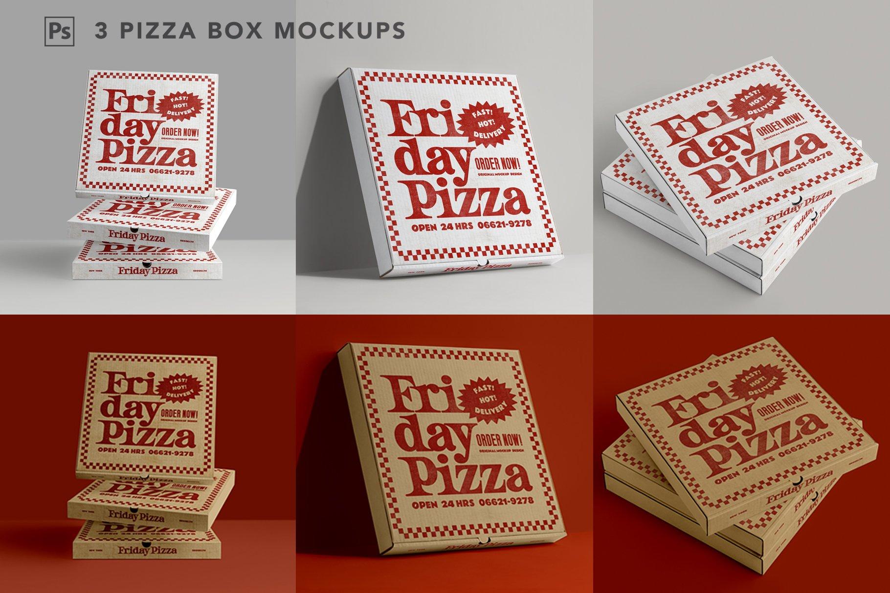 3款比萨外卖包装纸盒设计展示贴图样机 3 Pizza Box Mockup插图