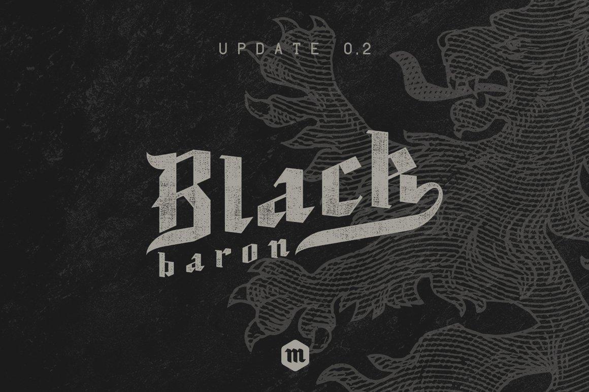 现代复古哥特式斜角杂志海报标题Logo设计衬线英文字体素材 Black Baron – Blackletter Typeface插图