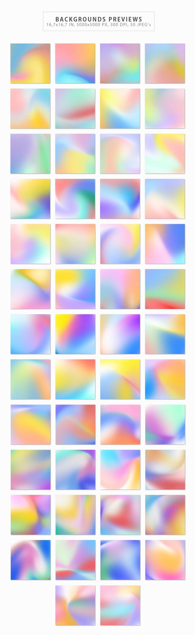 50款潮流全息渐变虹彩海报设计纹理背景图片素材 50 Holographic Backgrounds插图1