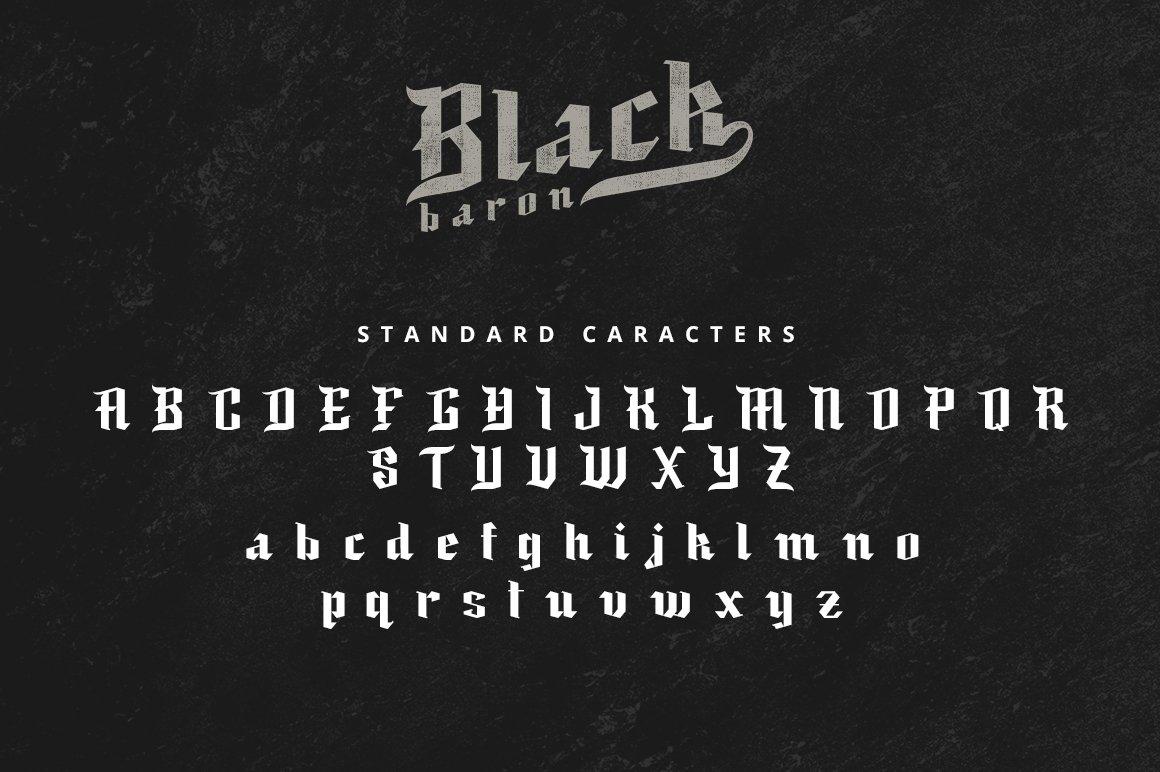 现代复古哥特式斜角杂志海报标题Logo设计衬线英文字体素材 Black Baron – Blackletter Typeface插图5