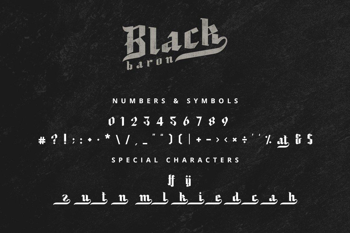 现代复古哥特式斜角杂志海报标题Logo设计衬线英文字体素材 Black Baron – Blackletter Typeface插图6