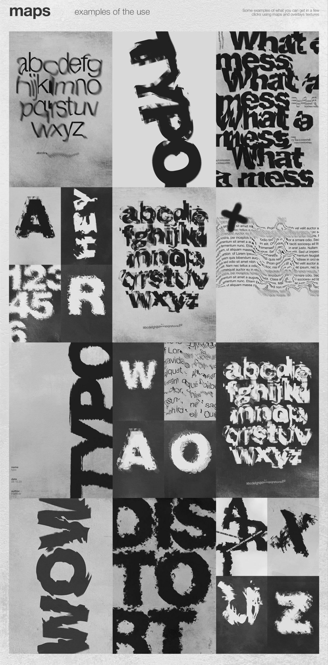 潮流创意抽象故障扭曲置换海报字体特效PS设计素材 Kinetic – Displacement Maps插图3