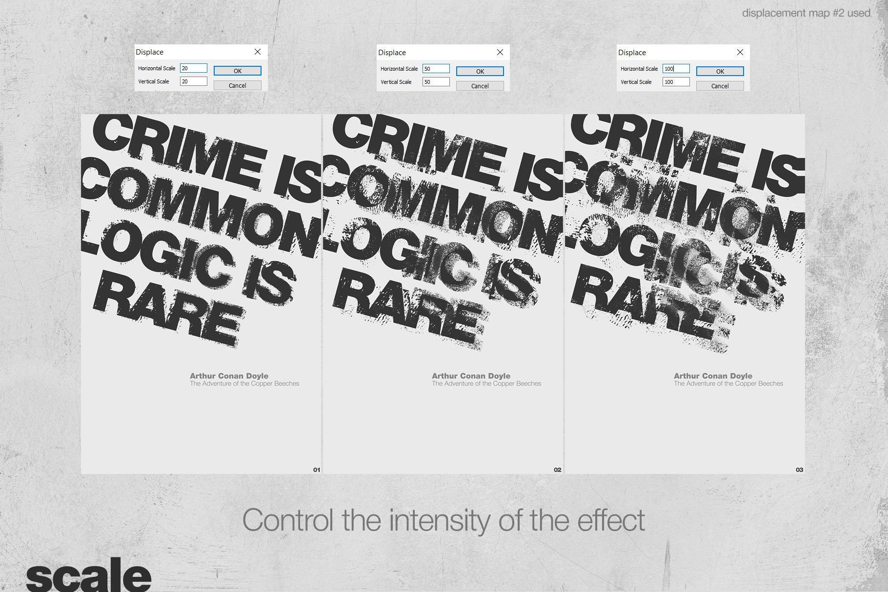 潮流创意抽象故障扭曲置换海报字体特效PS设计素材 Kinetic – Displacement Maps插图5