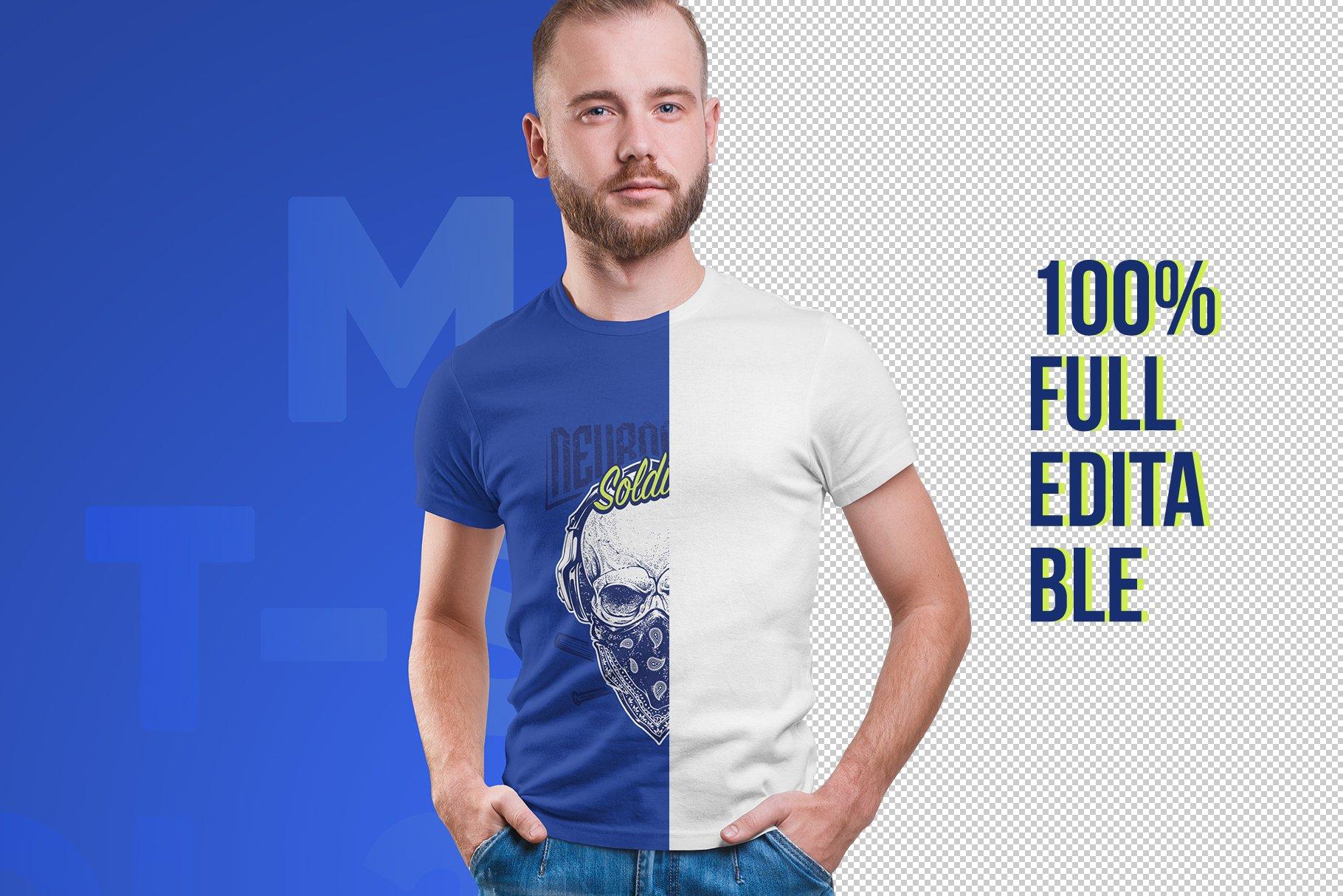 14款高质量男士半袖T恤印花图案设计展示贴图样机 Male T-Shirt PSD Mockups Vol2插图1
