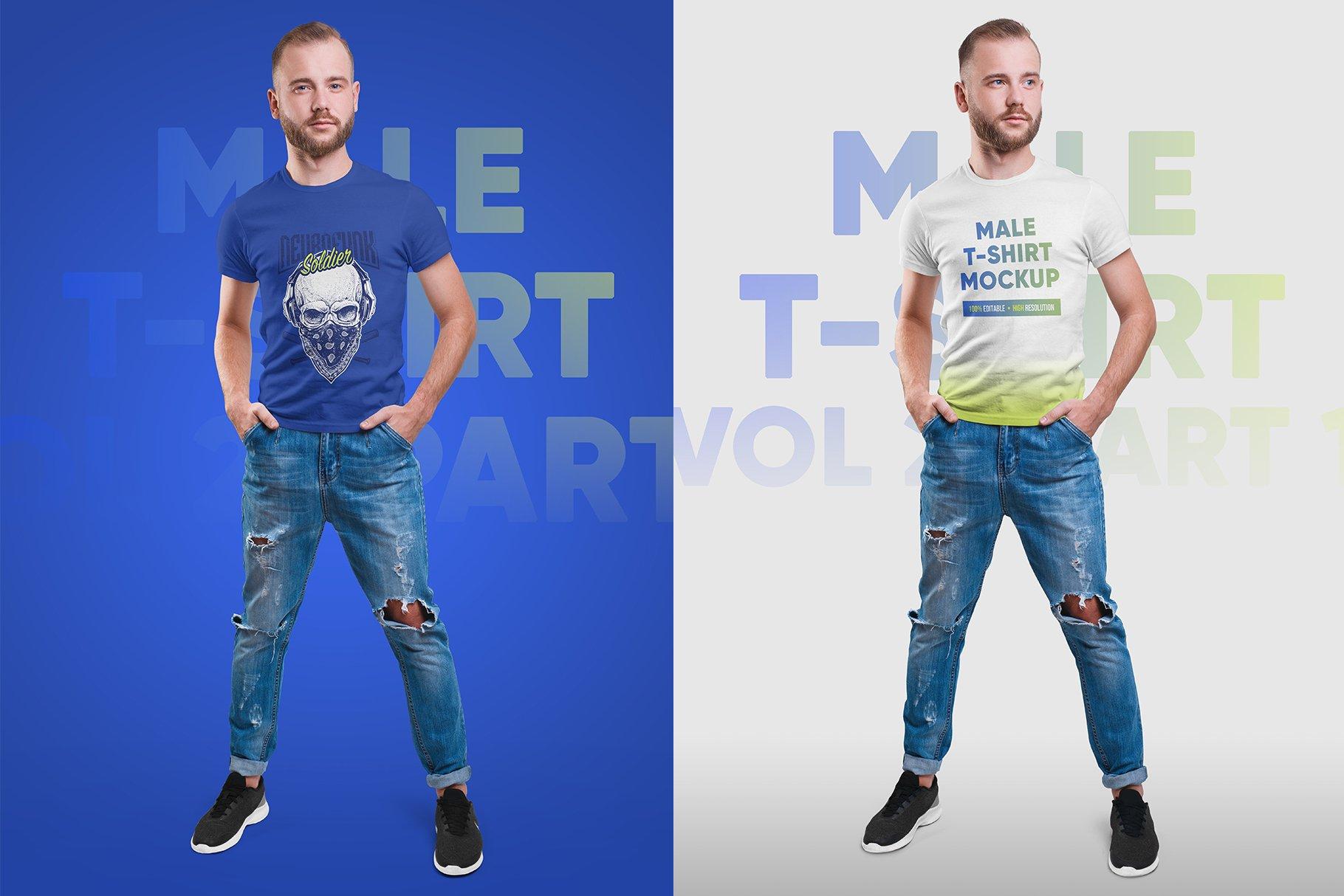 14款高质量男士半袖T恤印花图案设计展示贴图样机 Male T-Shirt PSD Mockups Vol2插图2