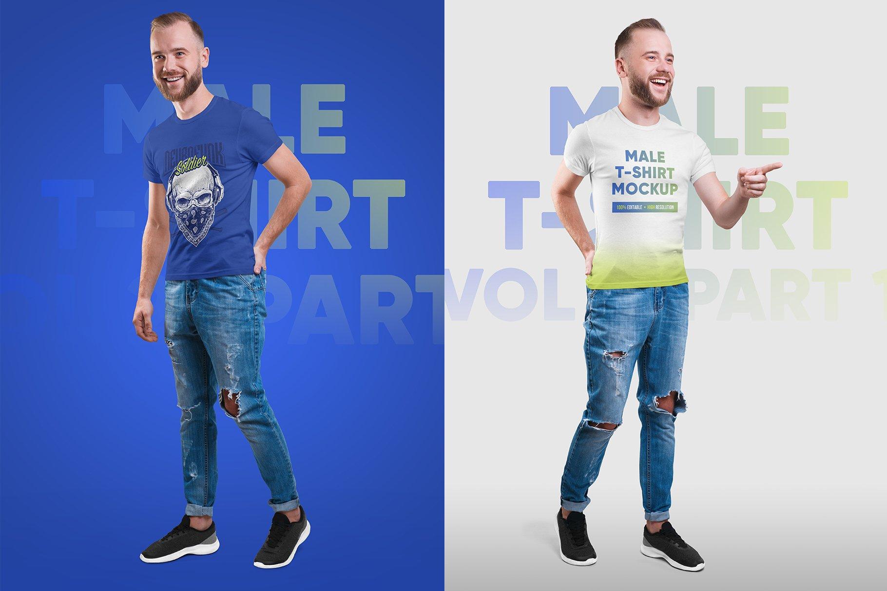14款高质量男士半袖T恤印花图案设计展示贴图样机 Male T-Shirt PSD Mockups Vol2插图3
