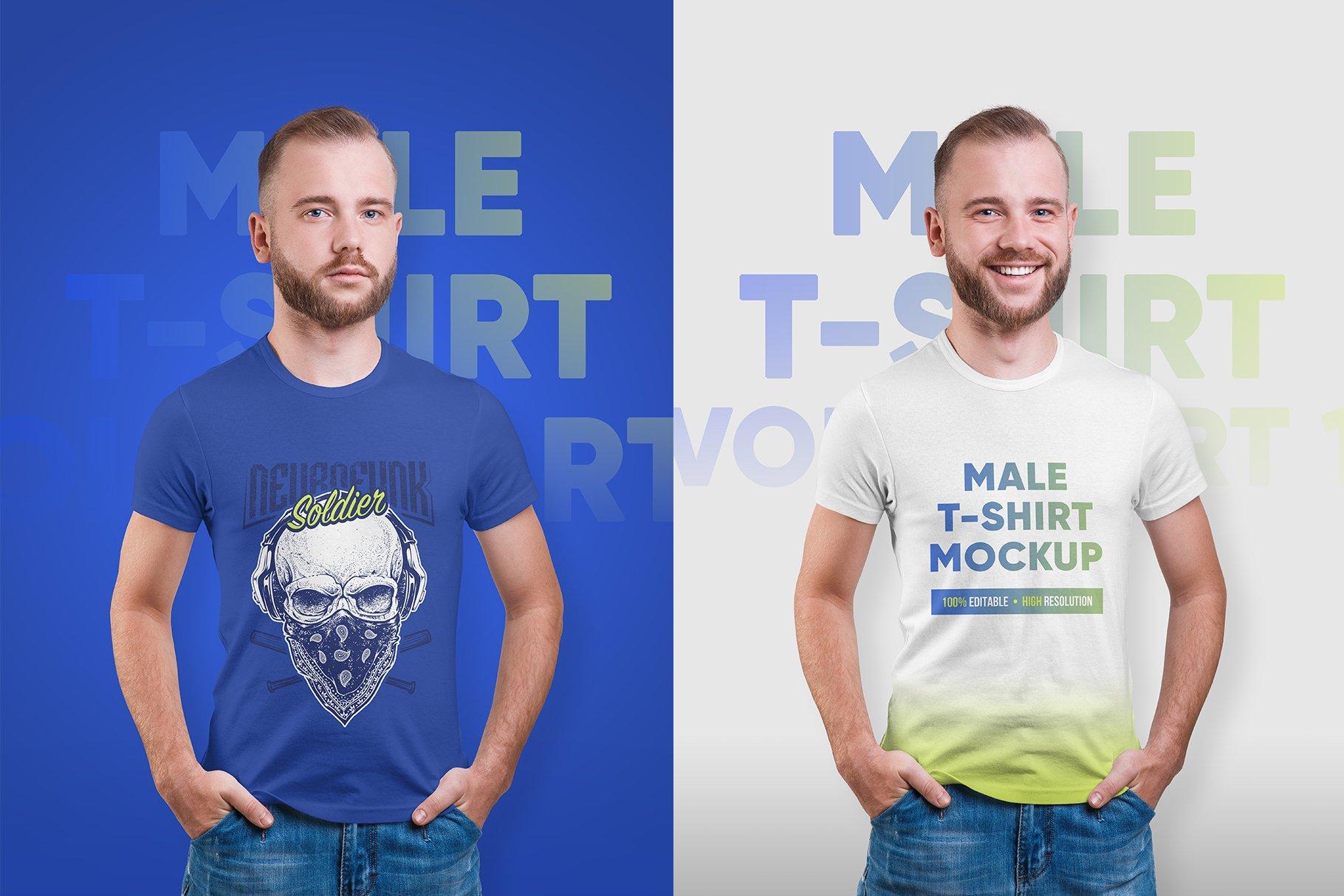 14款高质量男士半袖T恤印花图案设计展示贴图样机 Male T-Shirt PSD Mockups Vol2插图4
