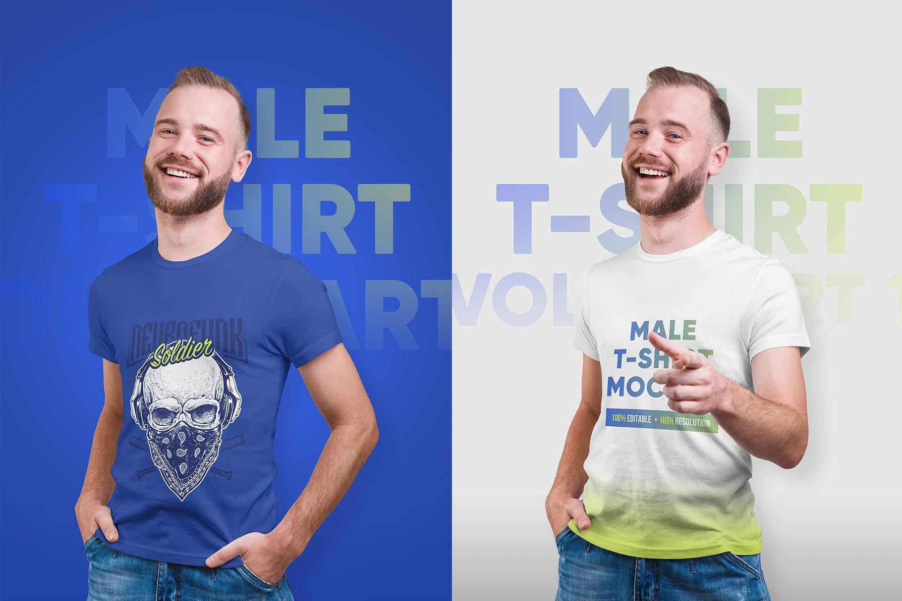 14款高质量男士半袖T恤印花图案设计展示贴图样机 Male T-Shirt PSD Mockups Vol2插图5