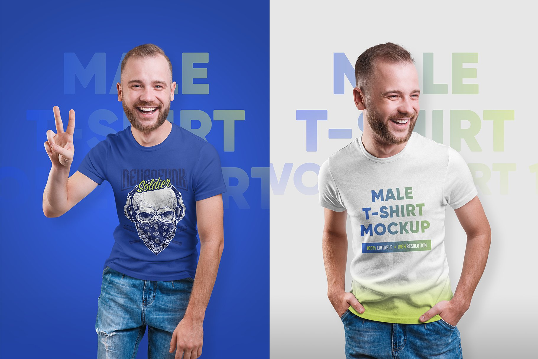 14款高质量男士半袖T恤印花图案设计展示贴图样机 Male T-Shirt PSD Mockups Vol2插图6
