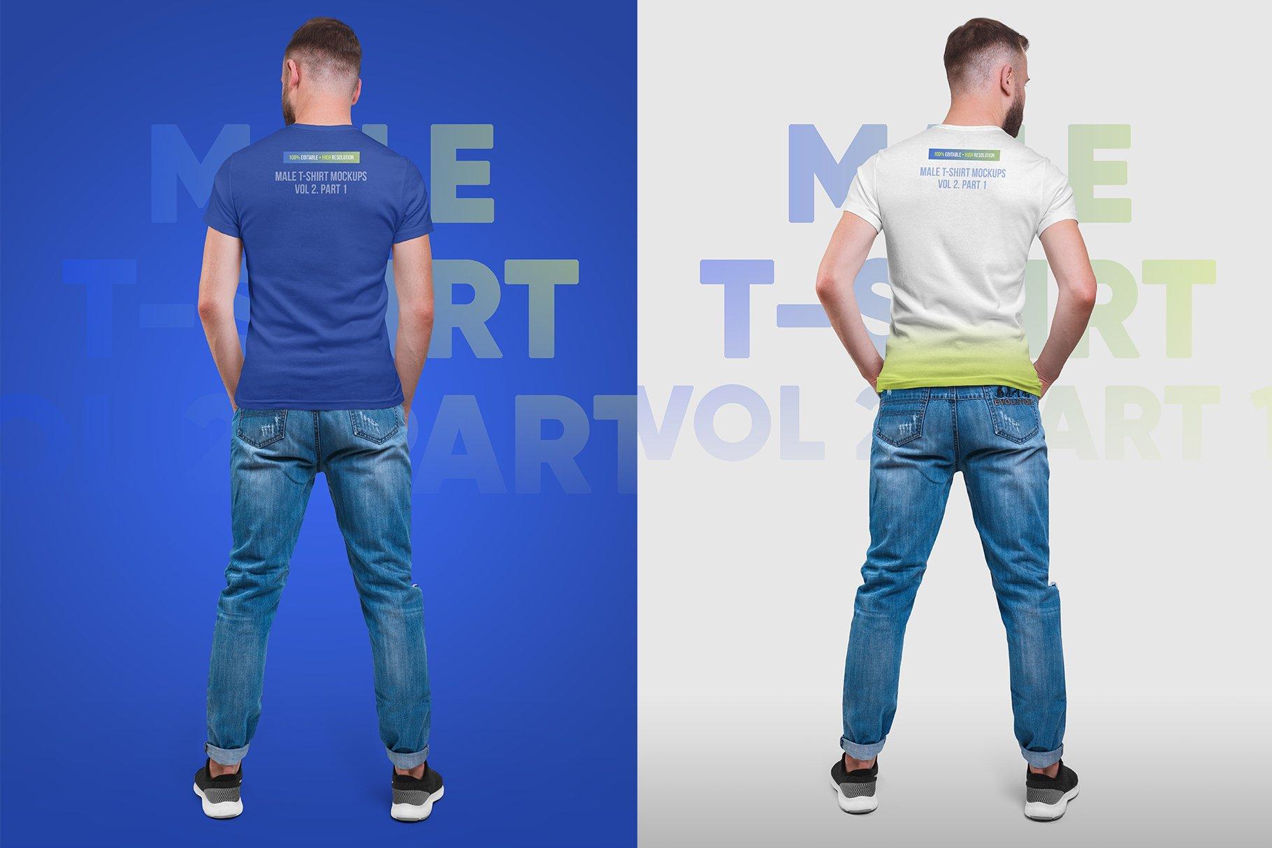14款高质量男士半袖T恤印花图案设计展示贴图样机 Male T-Shirt PSD Mockups Vol2插图8