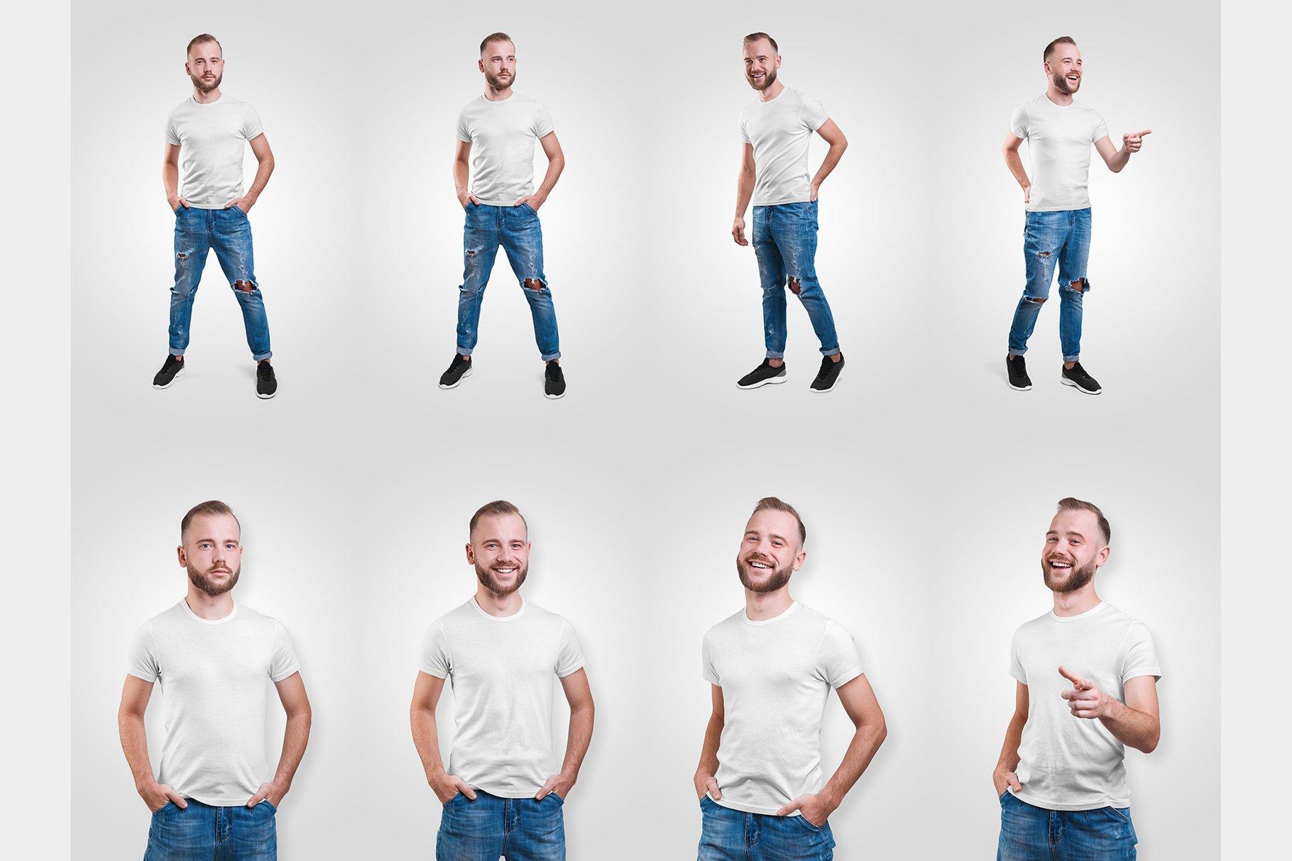 14款高质量男士半袖T恤印花图案设计展示贴图样机 Male T-Shirt PSD Mockups Vol2插图9