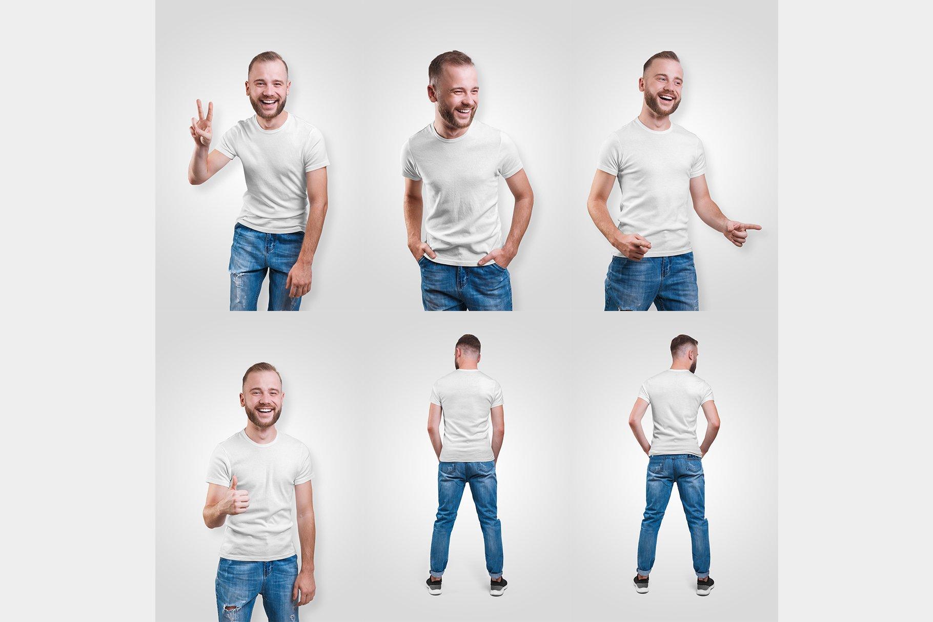 14款高质量男士半袖T恤印花图案设计展示贴图样机 Male T-Shirt PSD Mockups Vol2插图10