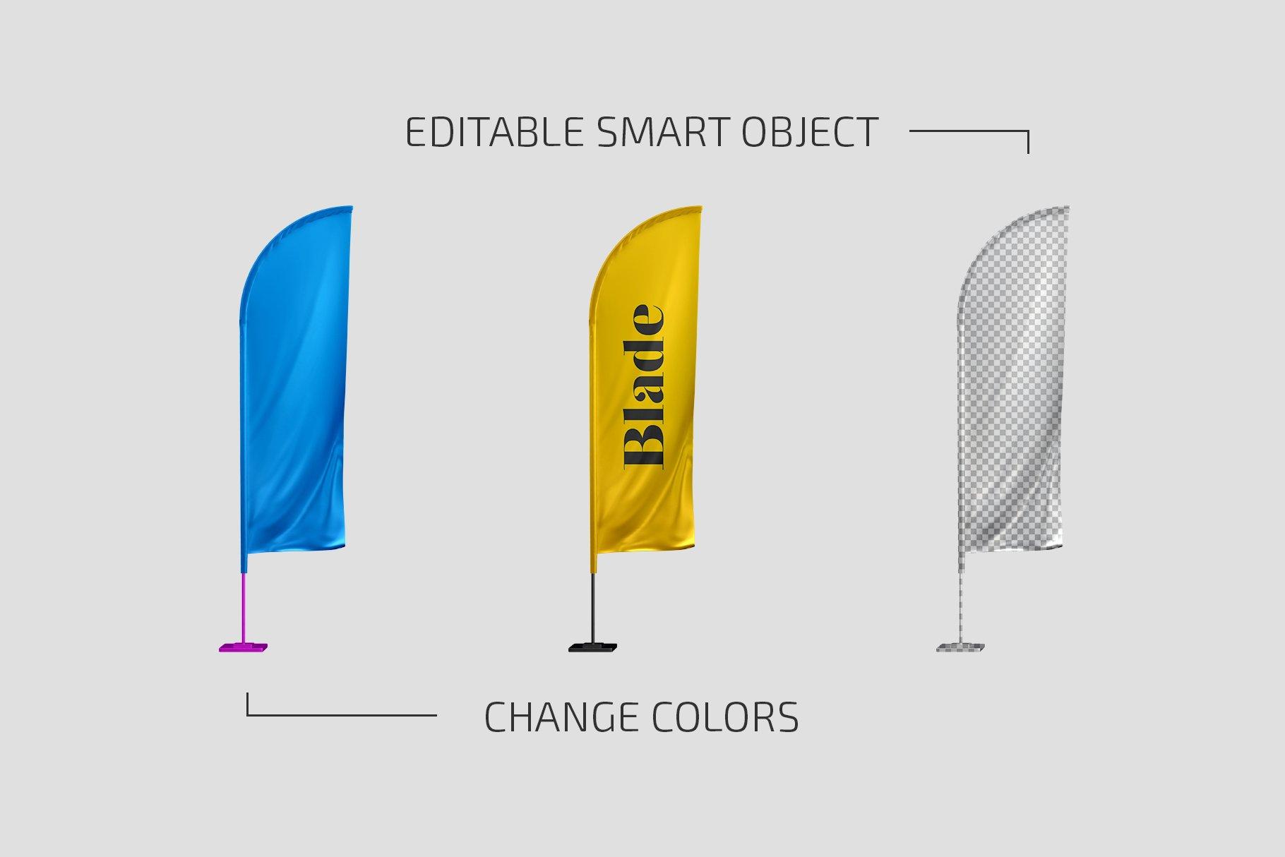 羽毛旗帜设计展示贴图样机模板合集 Feather Flags Mockup Set插图1