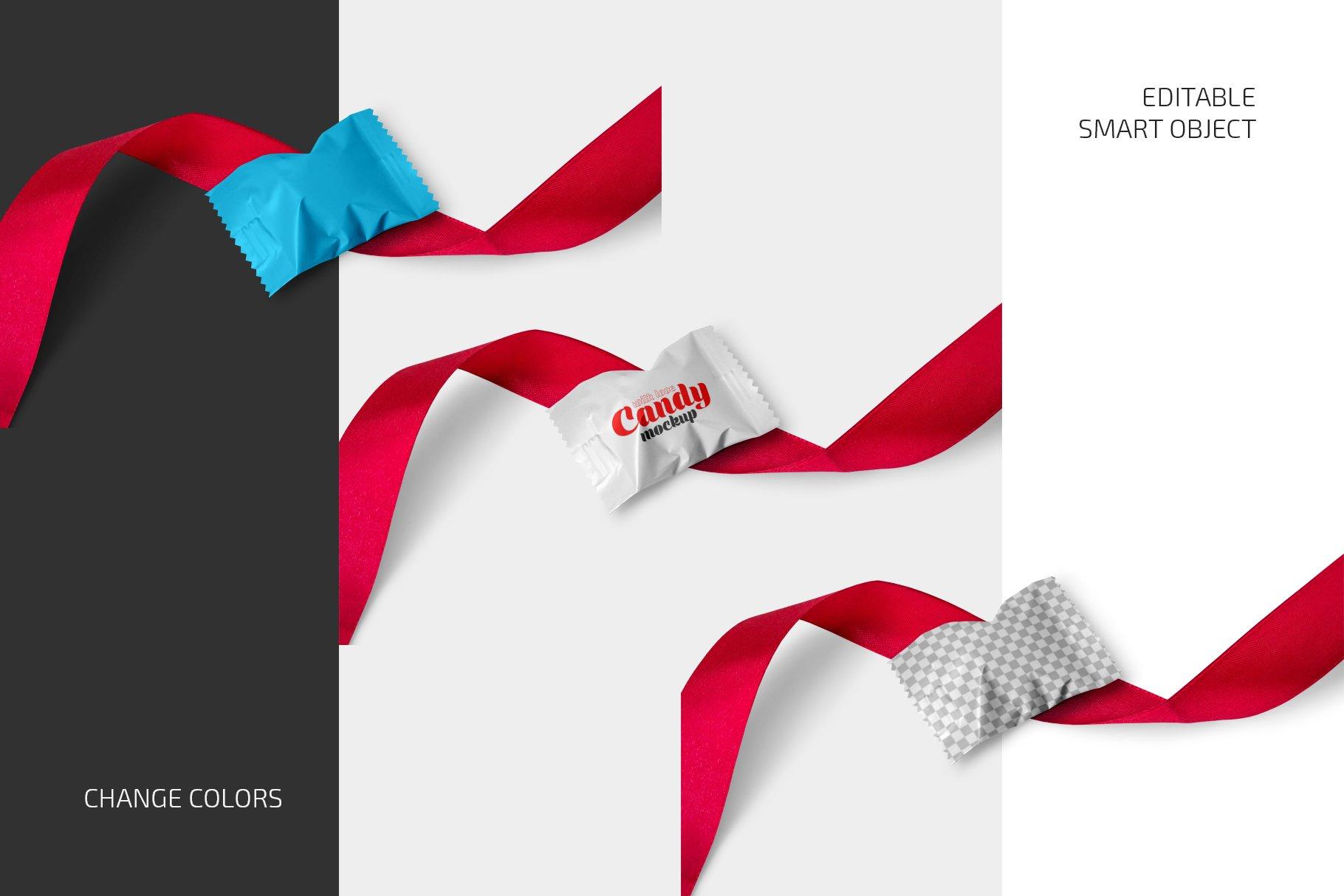 带红丝带节日糖果包装塑料袋设计PS贴图样机合集 Candy With Red Ribbon Mockup Set插图1
