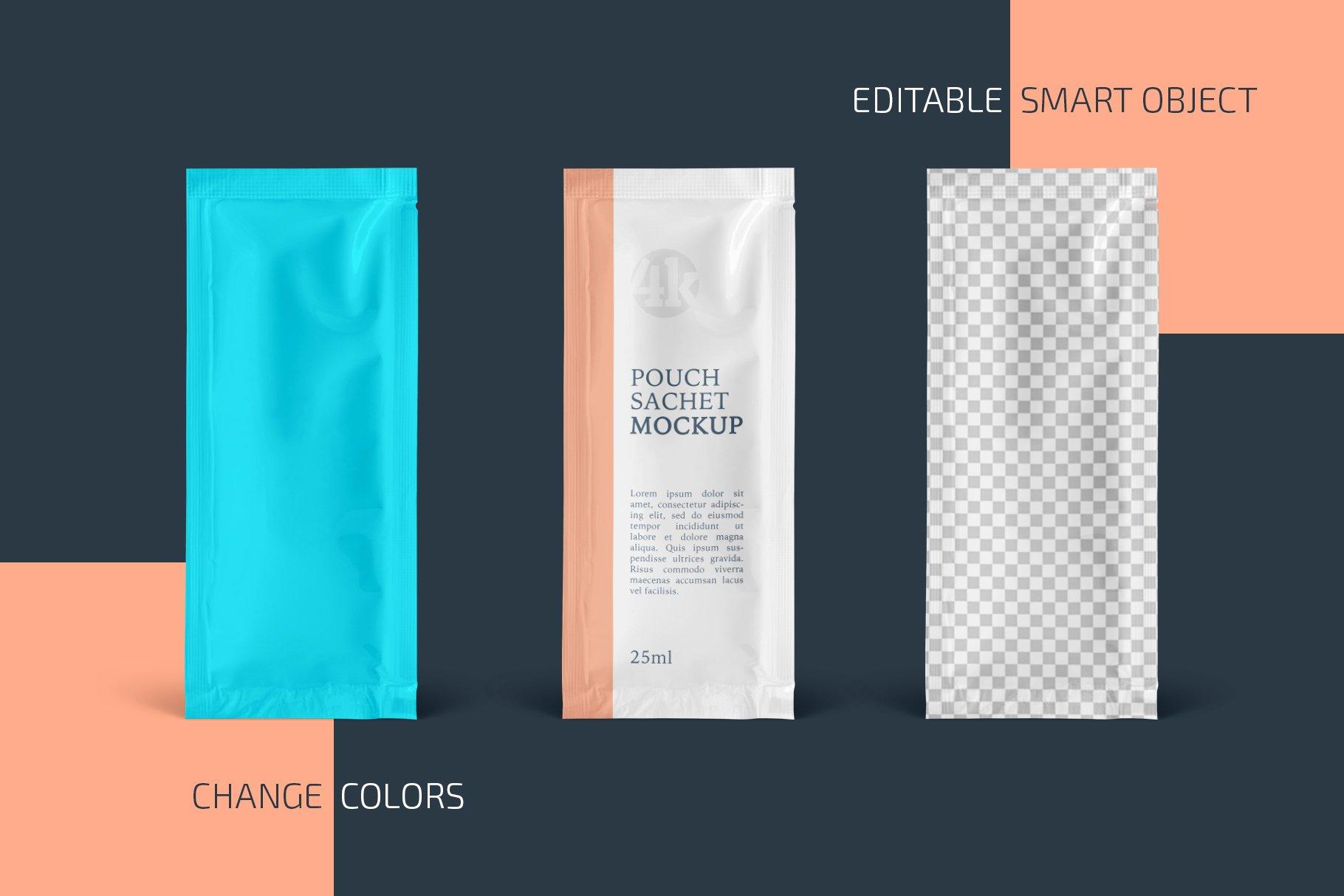 矩形香囊是塑料袋设计展示样机合集 Rectangular Pouch Sachet Mockup Set插图1