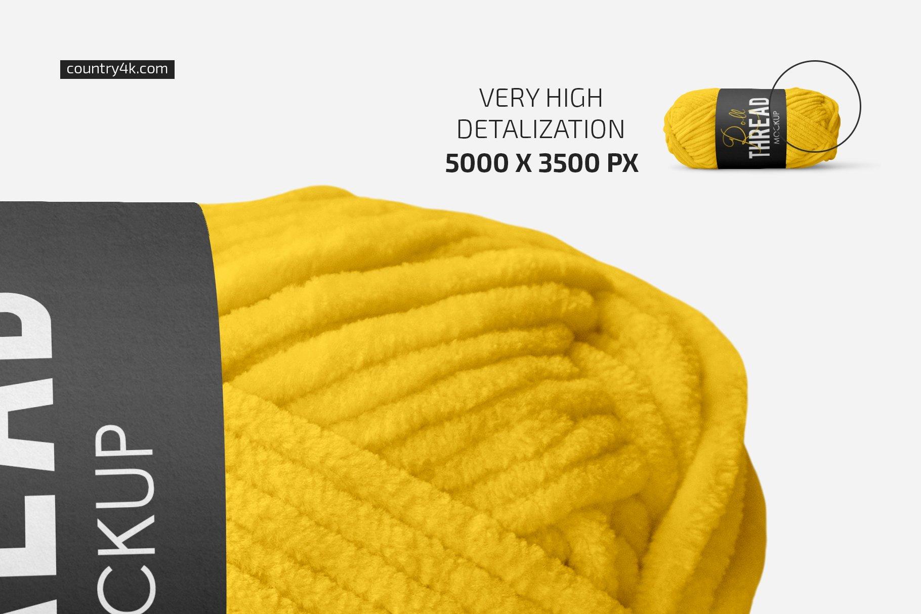 简约螺纹卷毛线标签设计贴图样机套装 Thread Roll Mockup Set插图2