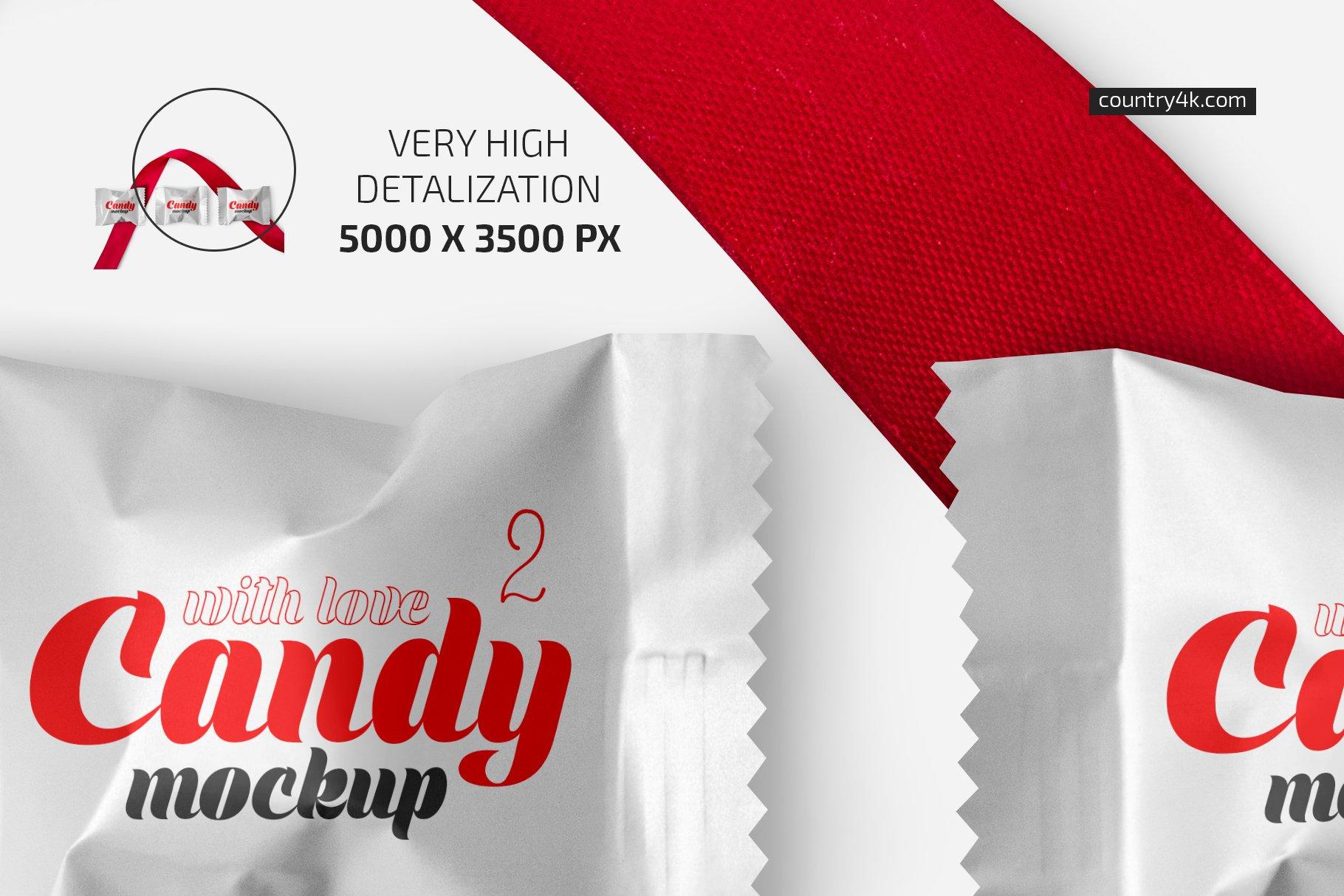 带红丝带节日糖果包装塑料袋设计PS贴图样机合集 Candy With Red Ribbon Mockup Set插图2