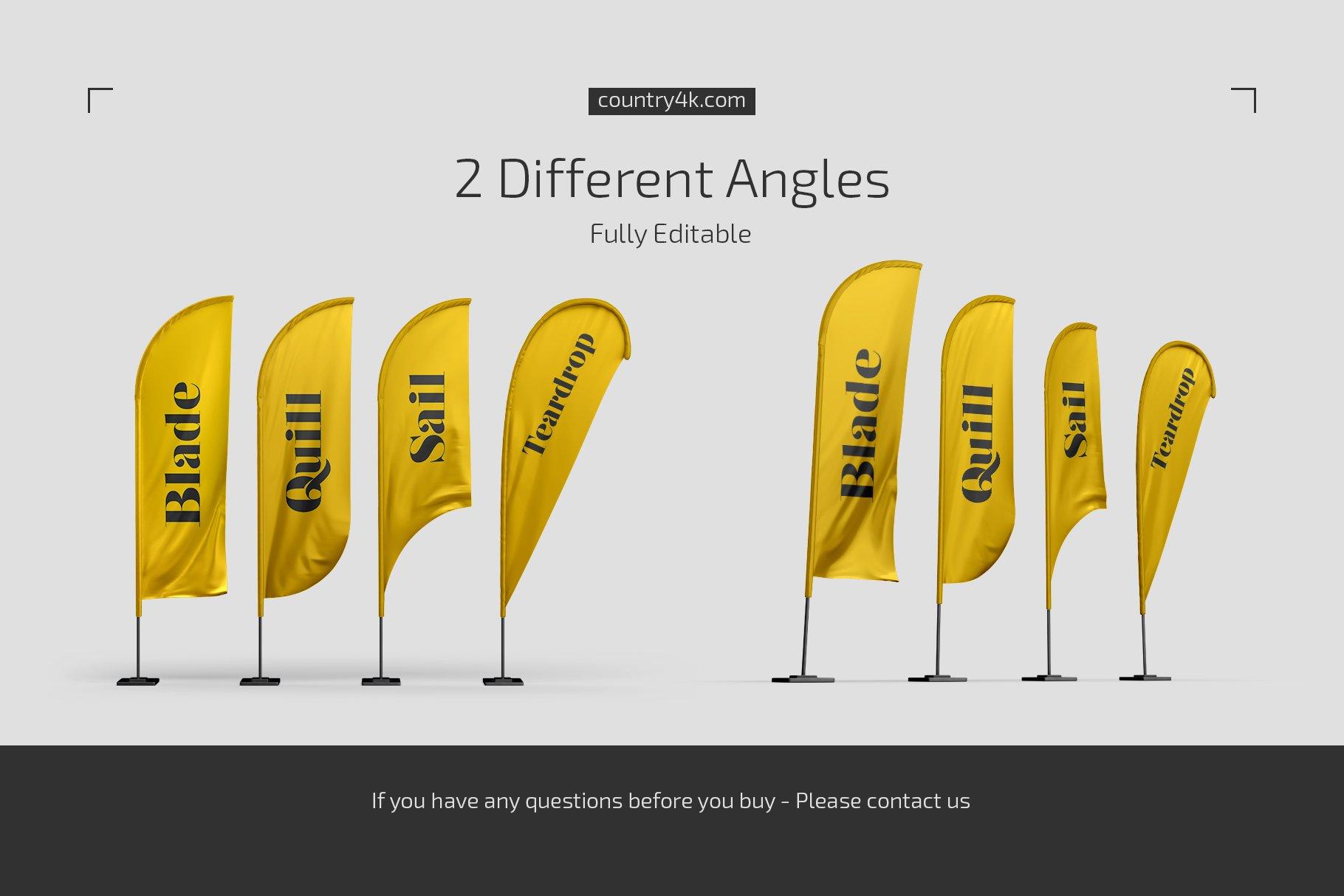 羽毛旗帜设计展示贴图样机模板合集 Feather Flags Mockup Set插图3