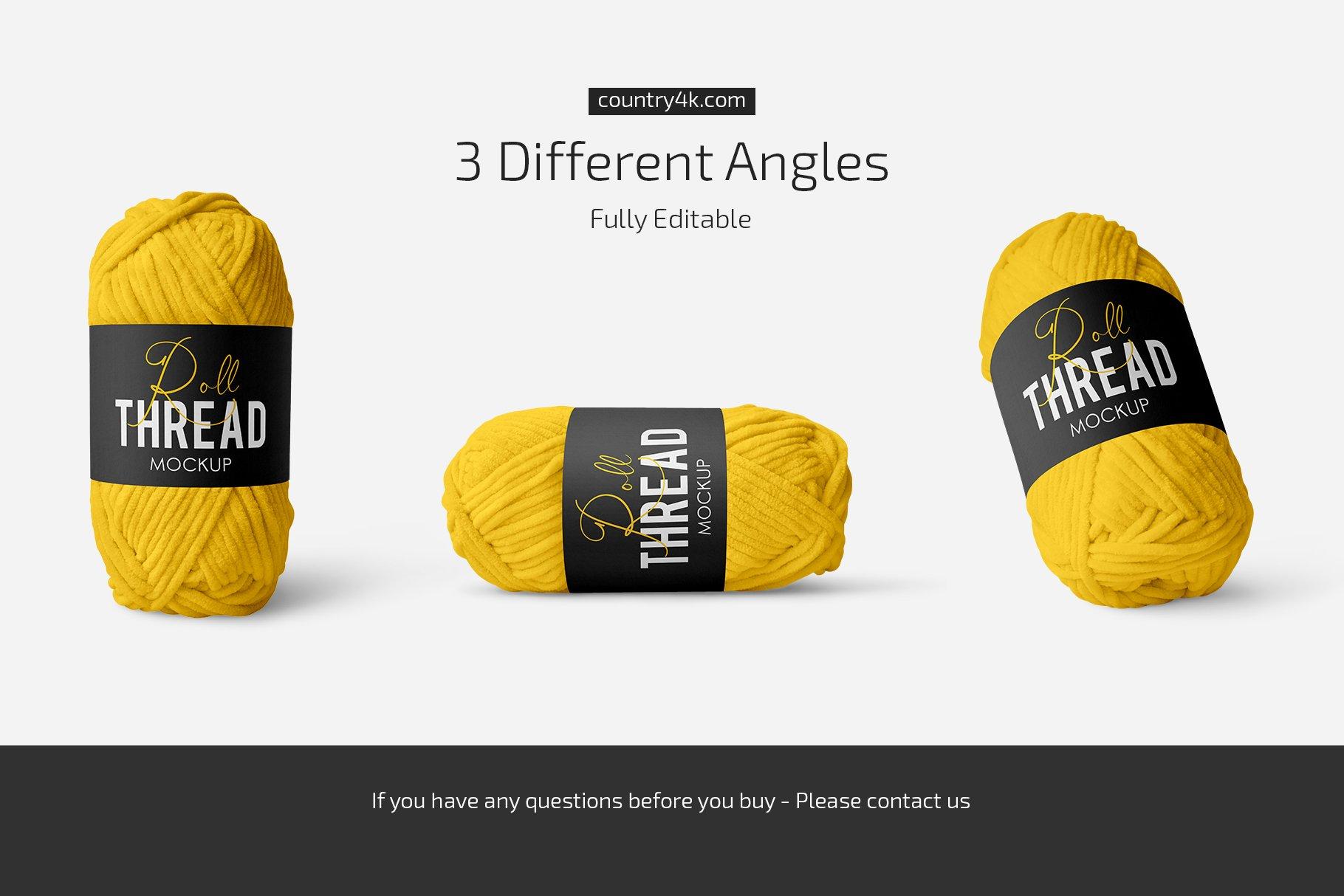 简约螺纹卷毛线标签设计贴图样机套装 Thread Roll Mockup Set插图3
