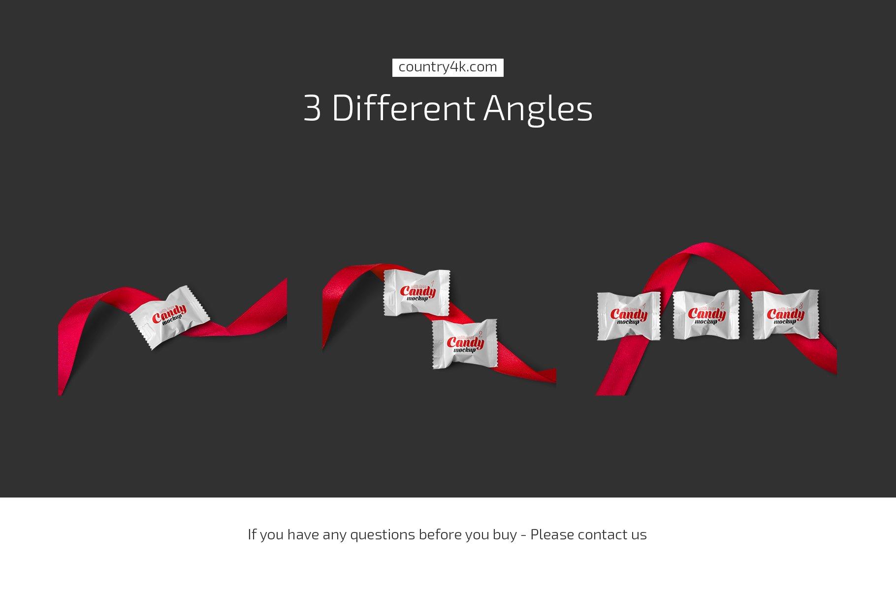 带红丝带节日糖果包装塑料袋设计PS贴图样机合集 Candy With Red Ribbon Mockup Set插图3