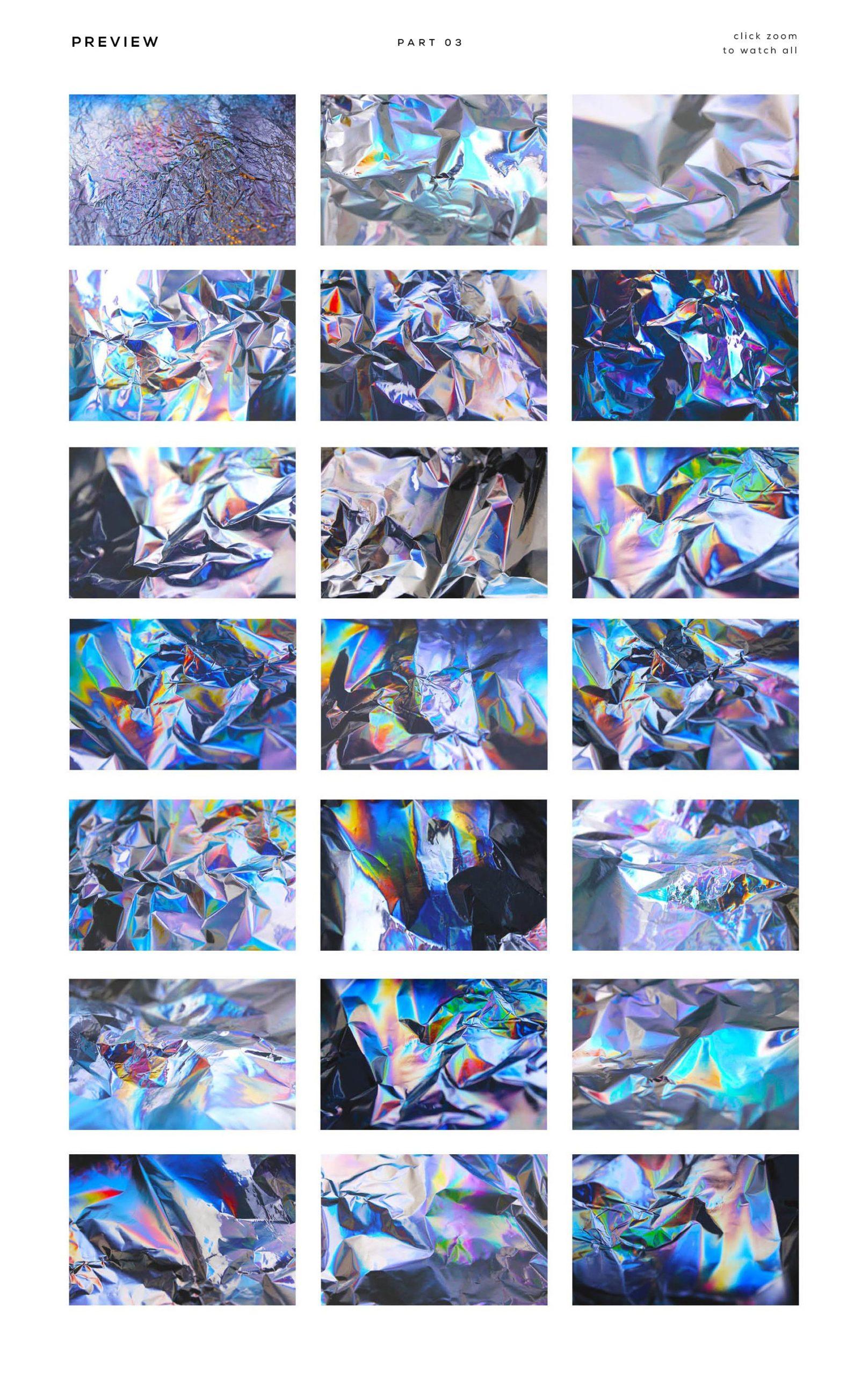 [淘宝购买] 90款潮流炫彩全息镭射金属箔纸海报设计肌理纹理背景图片设计素材 90 Holographic Foil Textures插图11