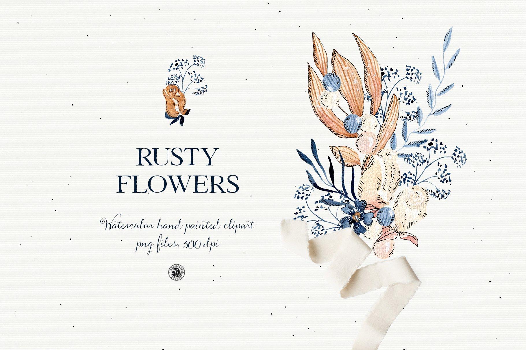 铁锈色花卉树叶手绘剪贴画PNG透明图片设计素材 Rusty Flowers – Watercolor Set插图