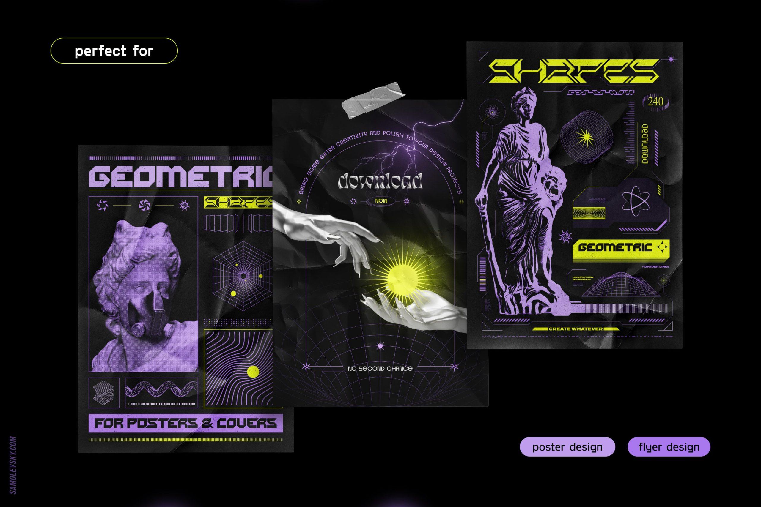 [淘宝购买] 时尚潮流抽象扭曲多边形几何海报设计矢量设计素材 Geometric Shapes For Poster Design插图2