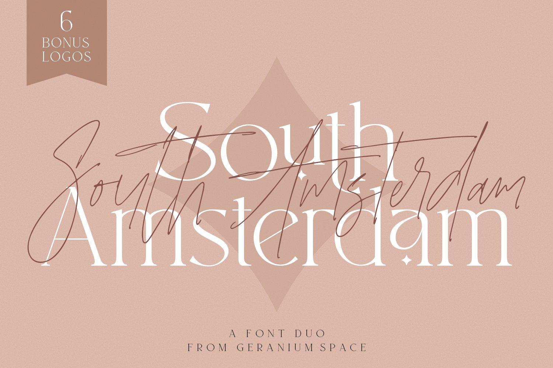 现代优雅杂志标题徽标Logo设计衬线手写英文字体素材 South Amsterdam Font Duo & Logos插图