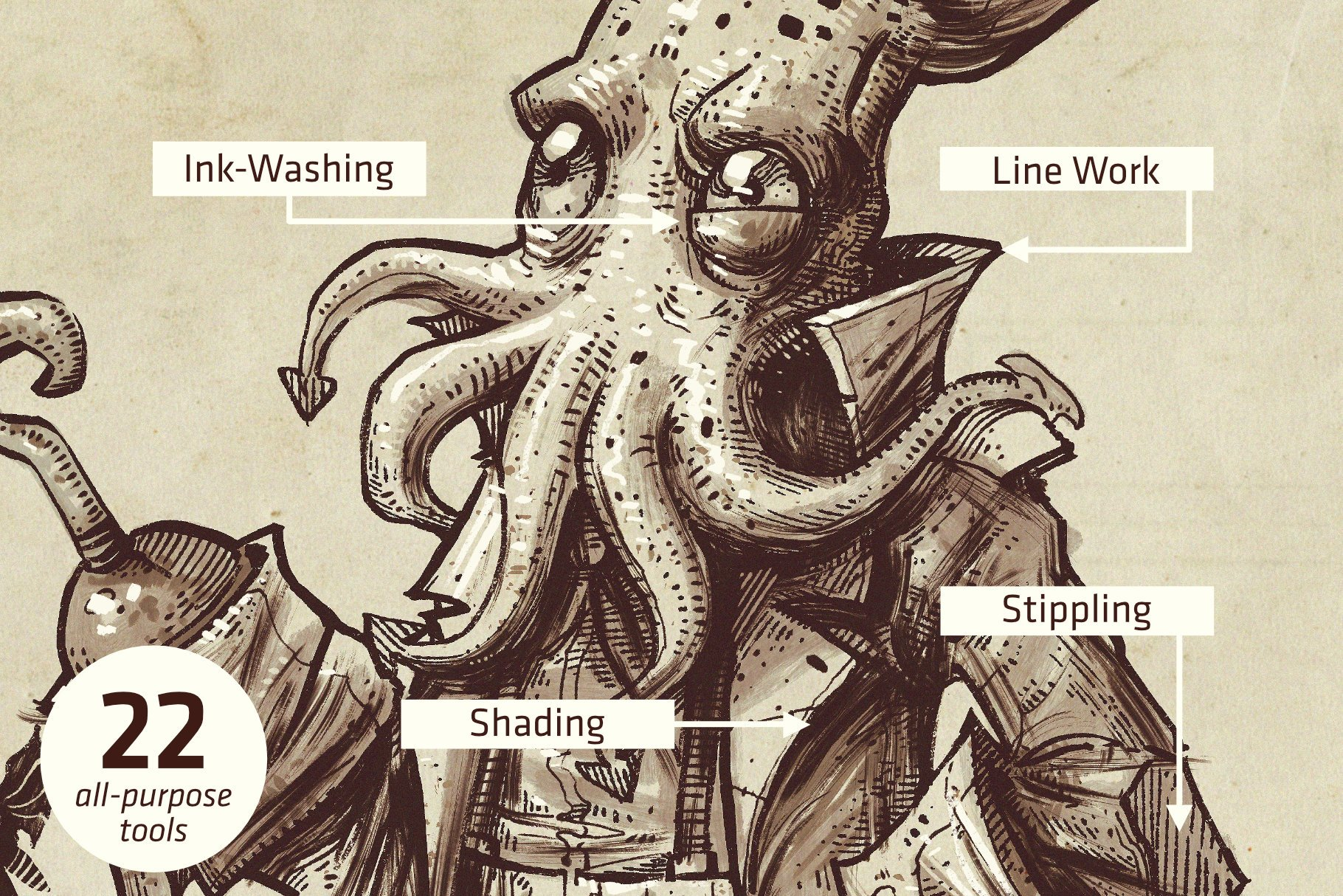 潮流粗糙点状水墨毛笔笔触画笔Procreate笔刷素材 Squid Brush Pack For Procreate插图2