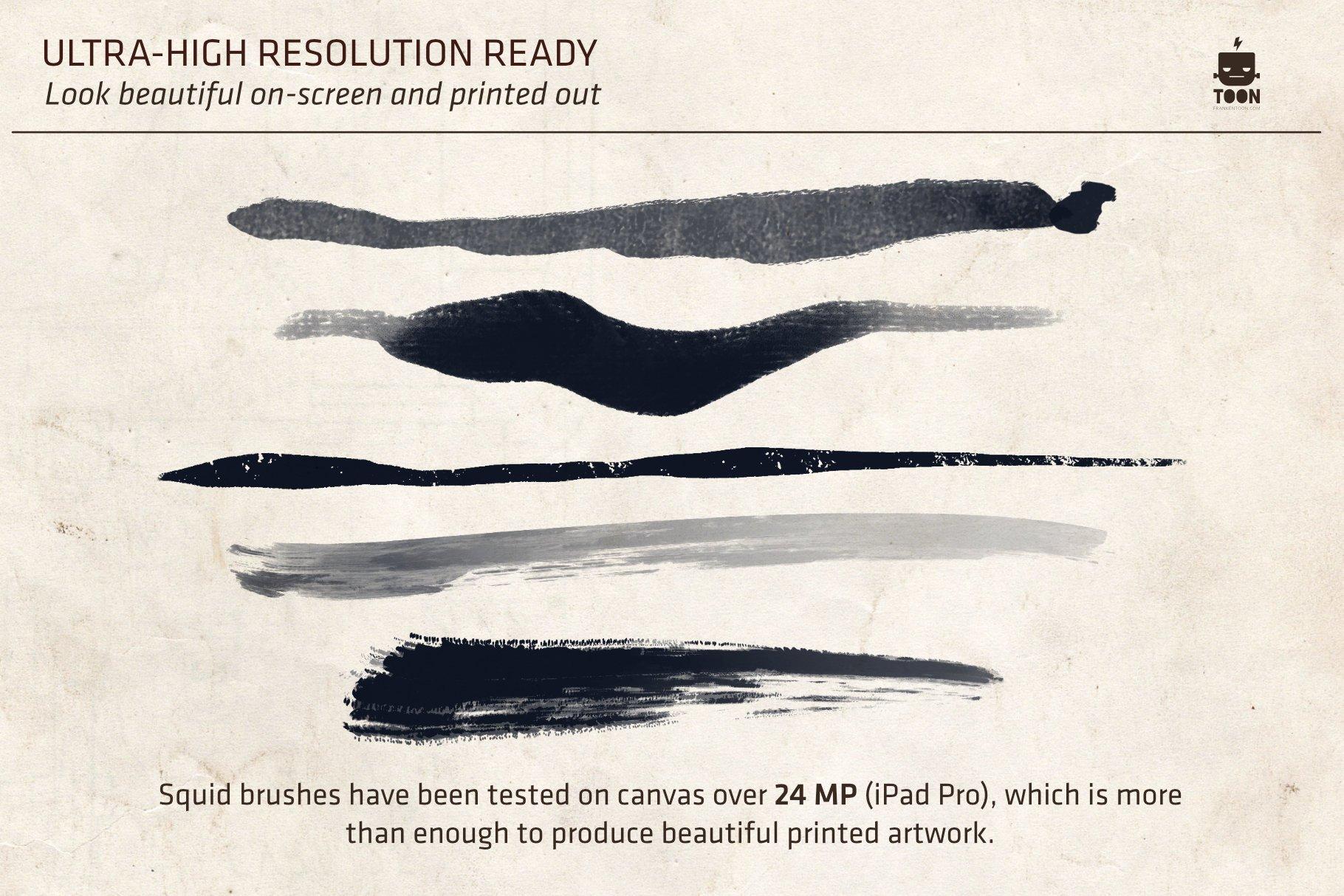 潮流粗糙点状水墨毛笔笔触画笔Procreate笔刷素材 Squid Brush Pack For Procreate插图4