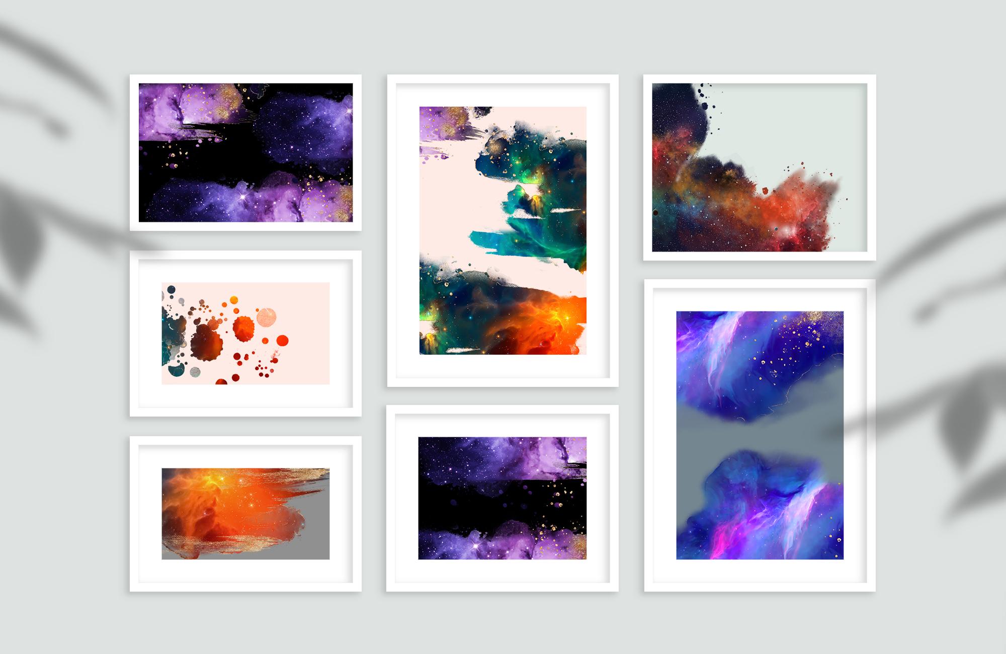 炫彩星云星系宇宙空间水墨背景图片设计素材 Galaxy Watercolor插图7