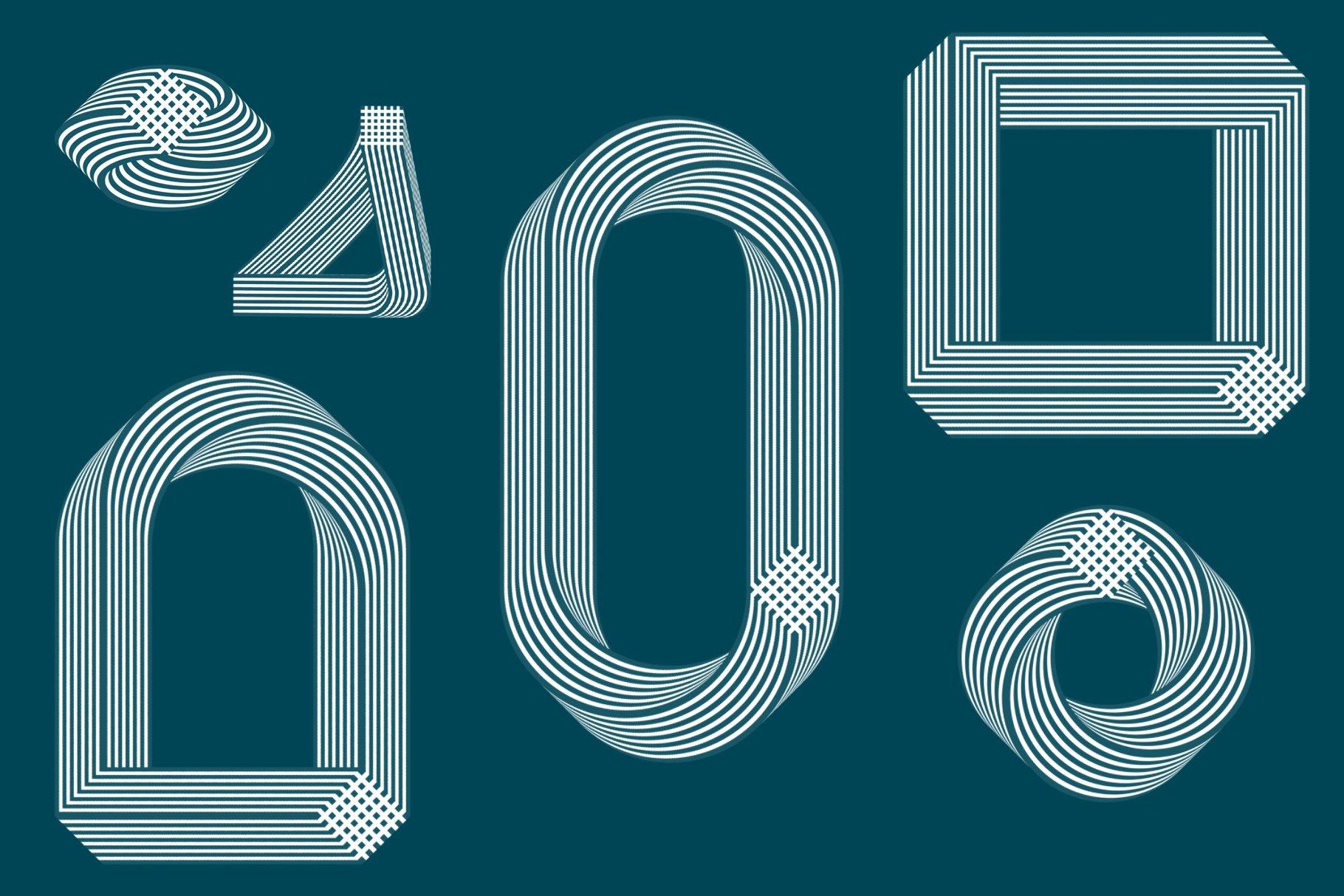 18款抽象错位几何Procreate笔刷素材 Illusion Procreate Stamps插图5
