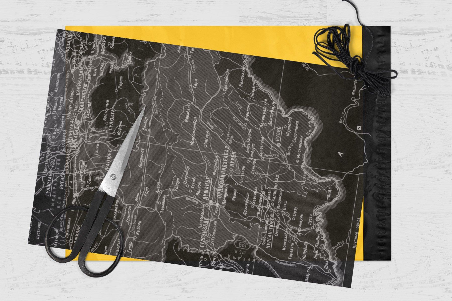 [淘宝购买] 60款高清复古老式苏联世界地图底纹背景纹理图片设计素材 60 USSR Map Textures插图8