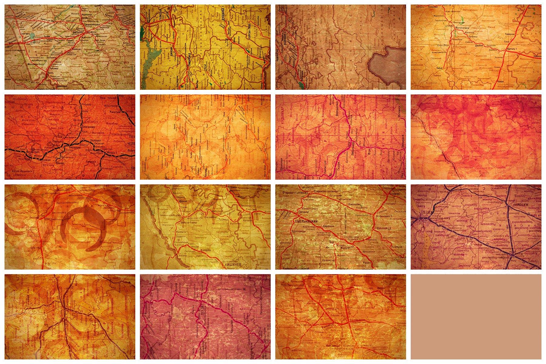 [淘宝购买] 60款高清复古老式苏联世界地图底纹背景纹理图片设计素材 60 USSR Map Textures插图11