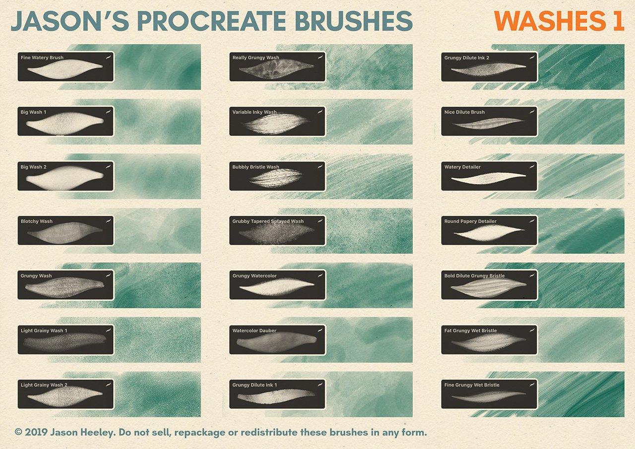 [淘宝购买] 潮流粗糙水墨颗粒线条绘画画笔Procreate笔刷素材 Jason's Procreate Brushes插图11