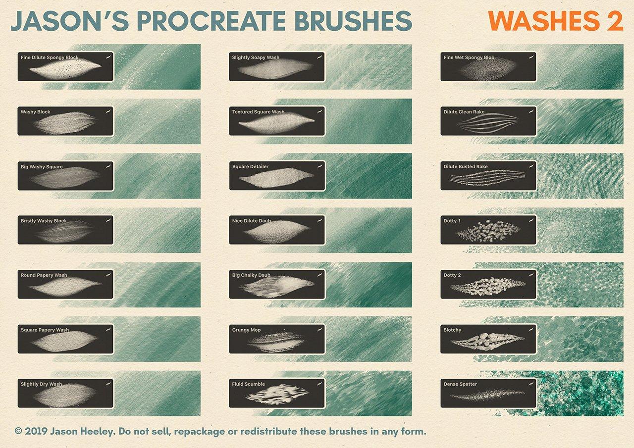 [淘宝购买] 潮流粗糙水墨颗粒线条绘画画笔Procreate笔刷素材 Jason's Procreate Brushes插图12
