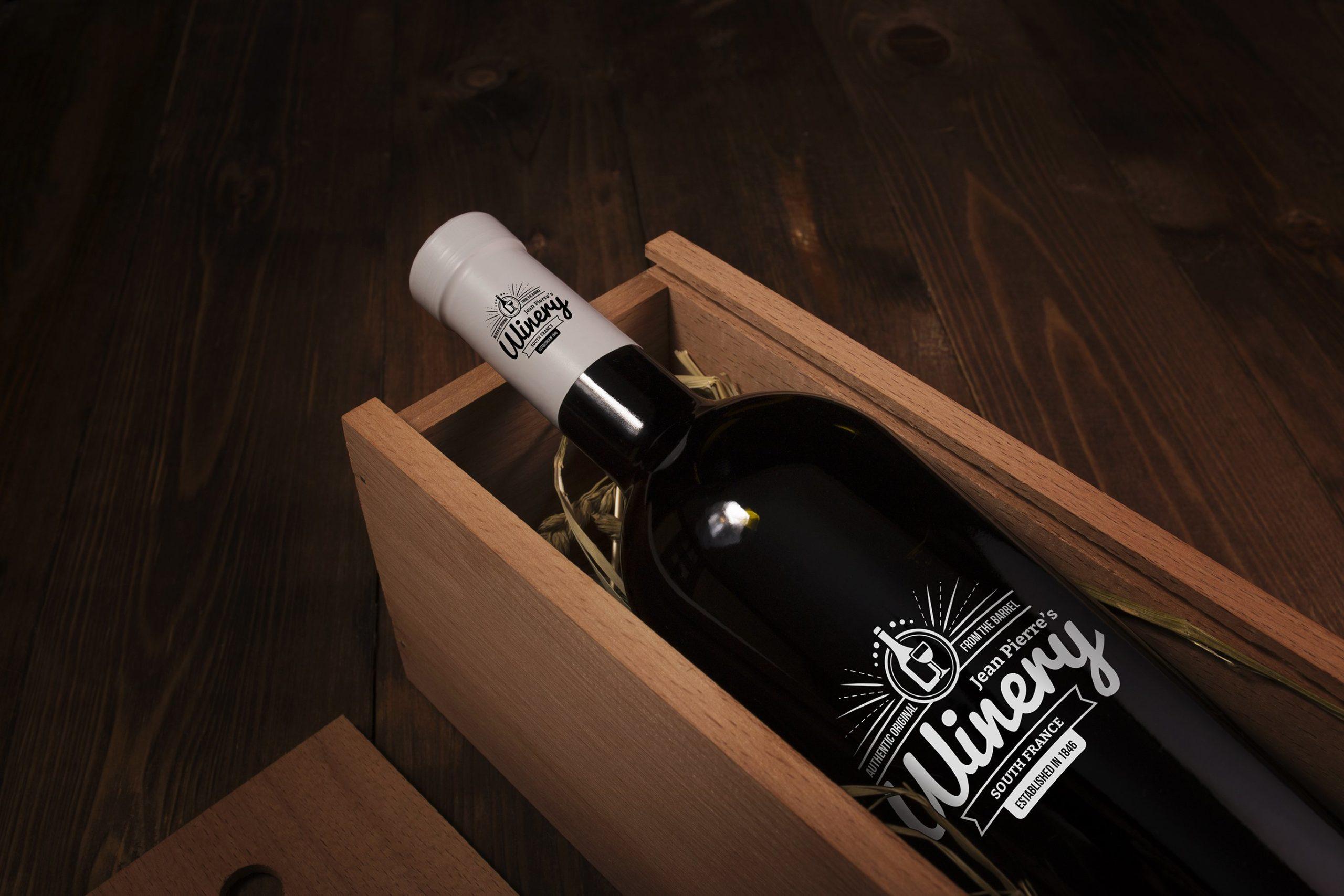 6款高品质葡萄酒木质盒子设计展示贴图样机 Wine Bottle And Box Mockups插图5