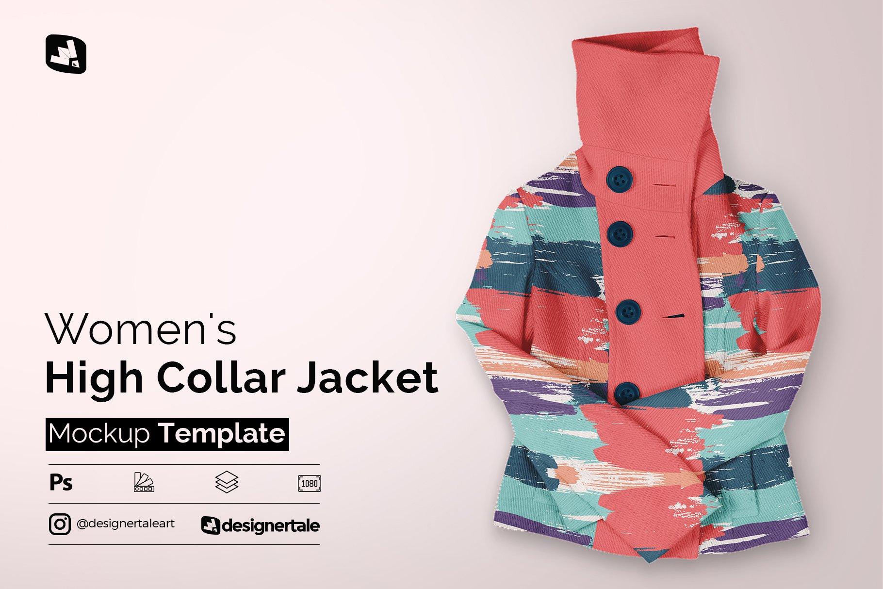 新潮女式冬季高领夹克印花图案设计PS贴图样机模板 Womens High Collar Jacket Mockup插图