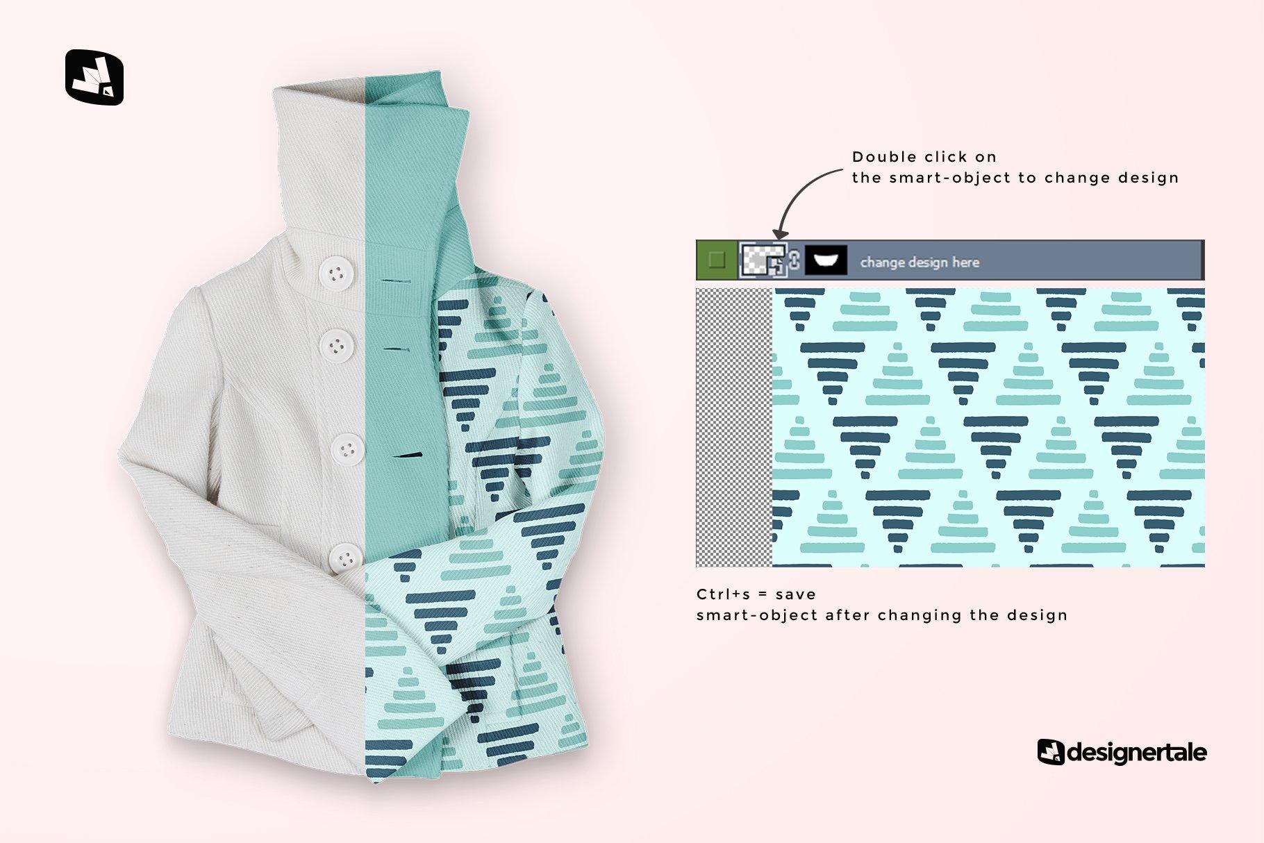新潮女式冬季高领夹克印花图案设计PS贴图样机模板 Womens High Collar Jacket Mockup插图1