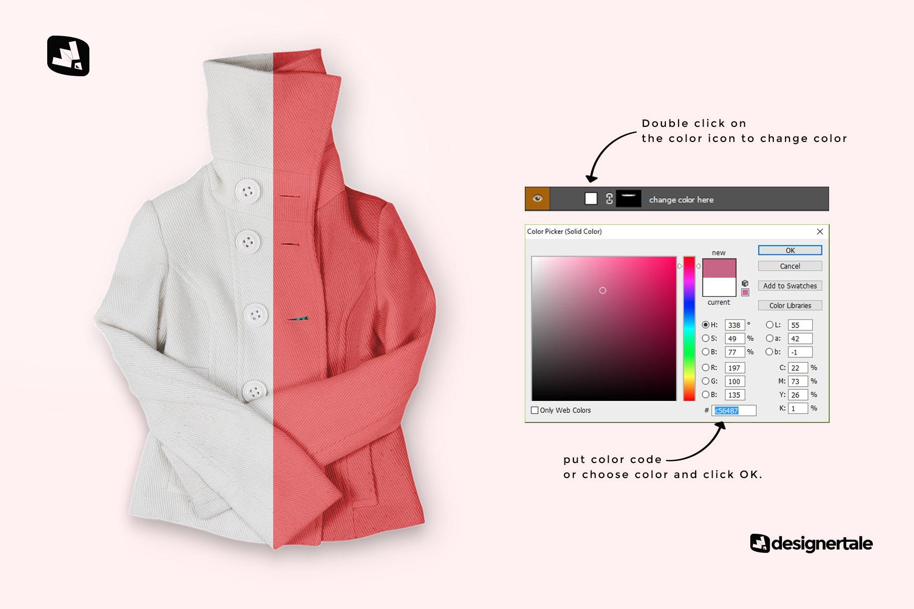 新潮女式冬季高领夹克印花图案设计PS贴图样机模板 Womens High Collar Jacket Mockup插图2