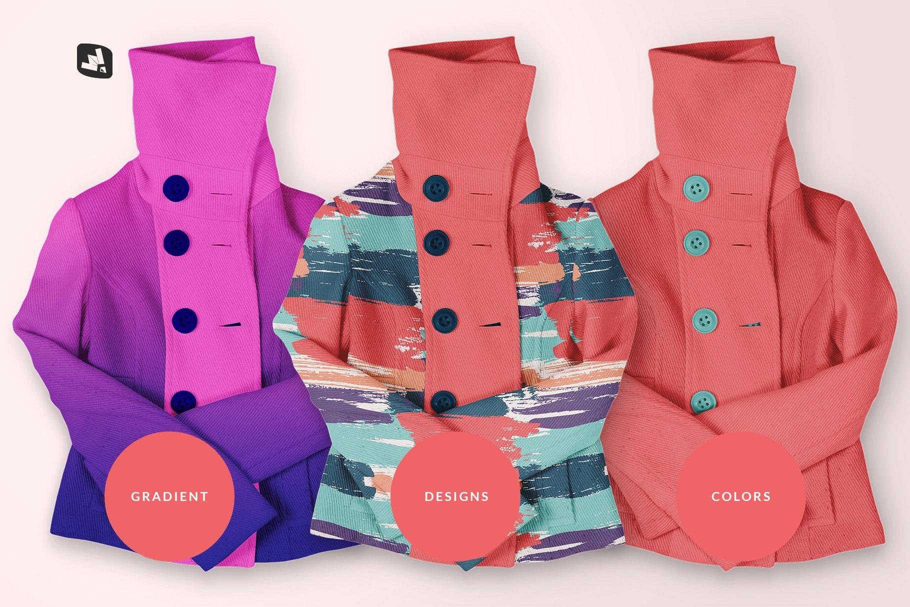 新潮女式冬季高领夹克印花图案设计PS贴图样机模板 Womens High Collar Jacket Mockup插图3