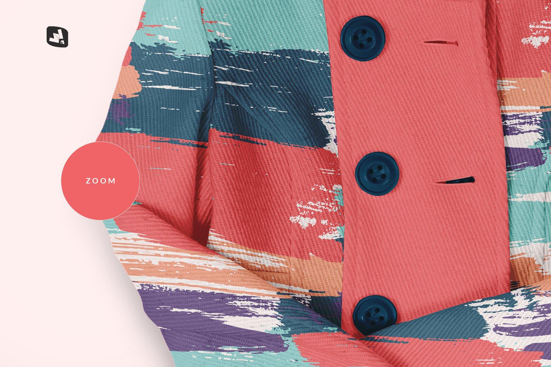 新潮女式冬季高领夹克印花图案设计PS贴图样机模板 Womens High Collar Jacket Mockup插图5