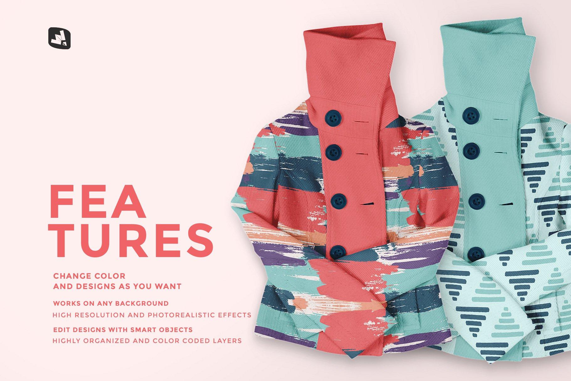 新潮女式冬季高领夹克印花图案设计PS贴图样机模板 Womens High Collar Jacket Mockup插图6