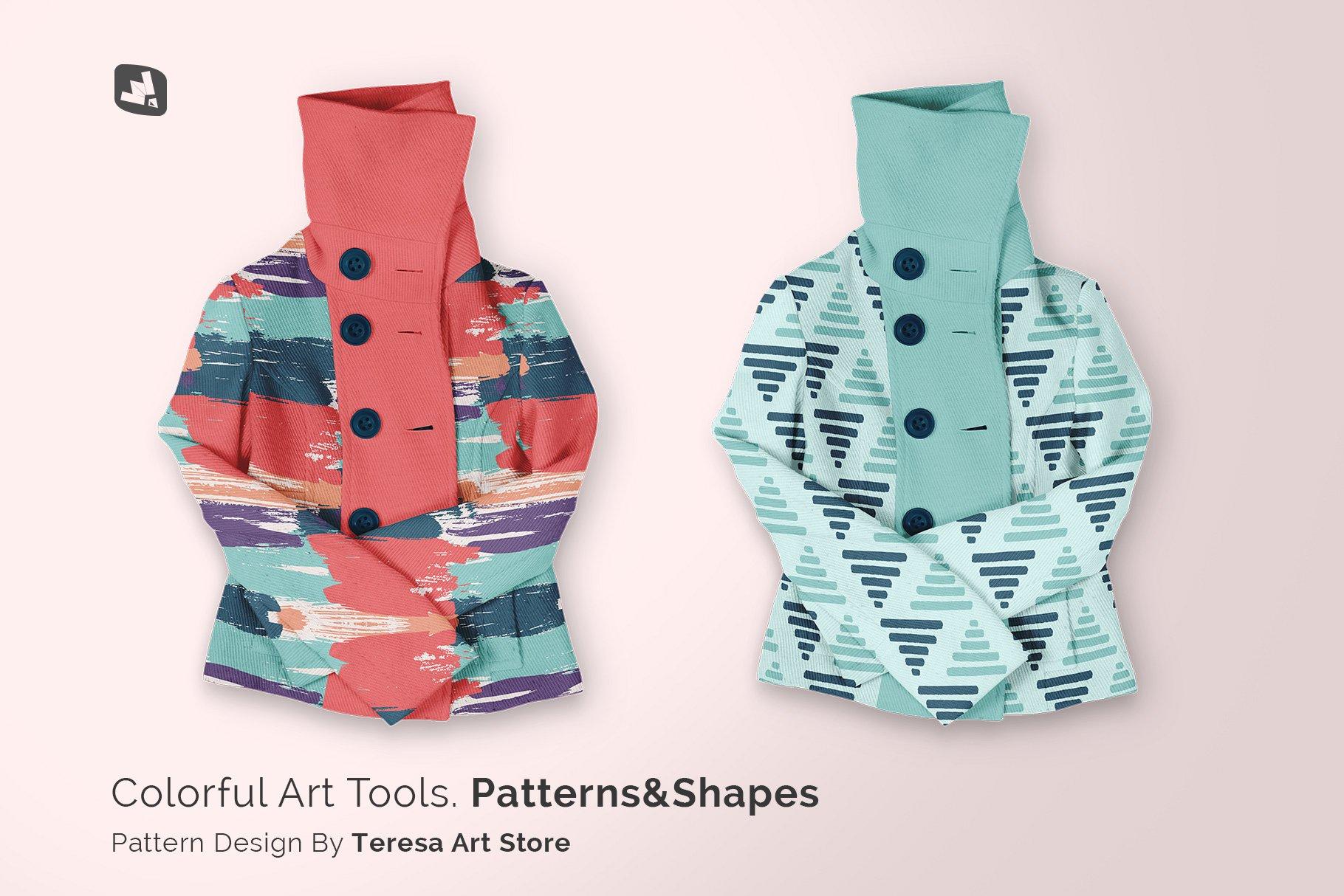 新潮女式冬季高领夹克印花图案设计PS贴图样机模板 Womens High Collar Jacket Mockup插图8